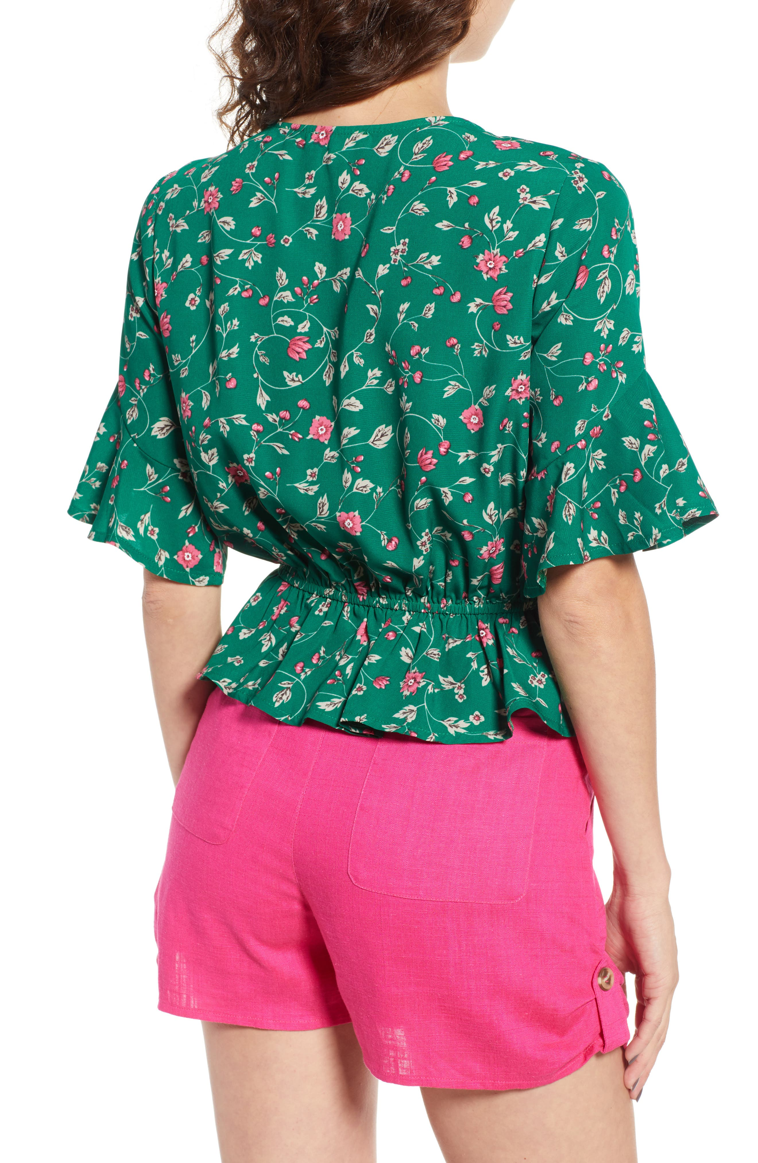 Floral Tie Front Peplum Top,                             Alternate thumbnail 3, color,                             Green/ Pink Floral