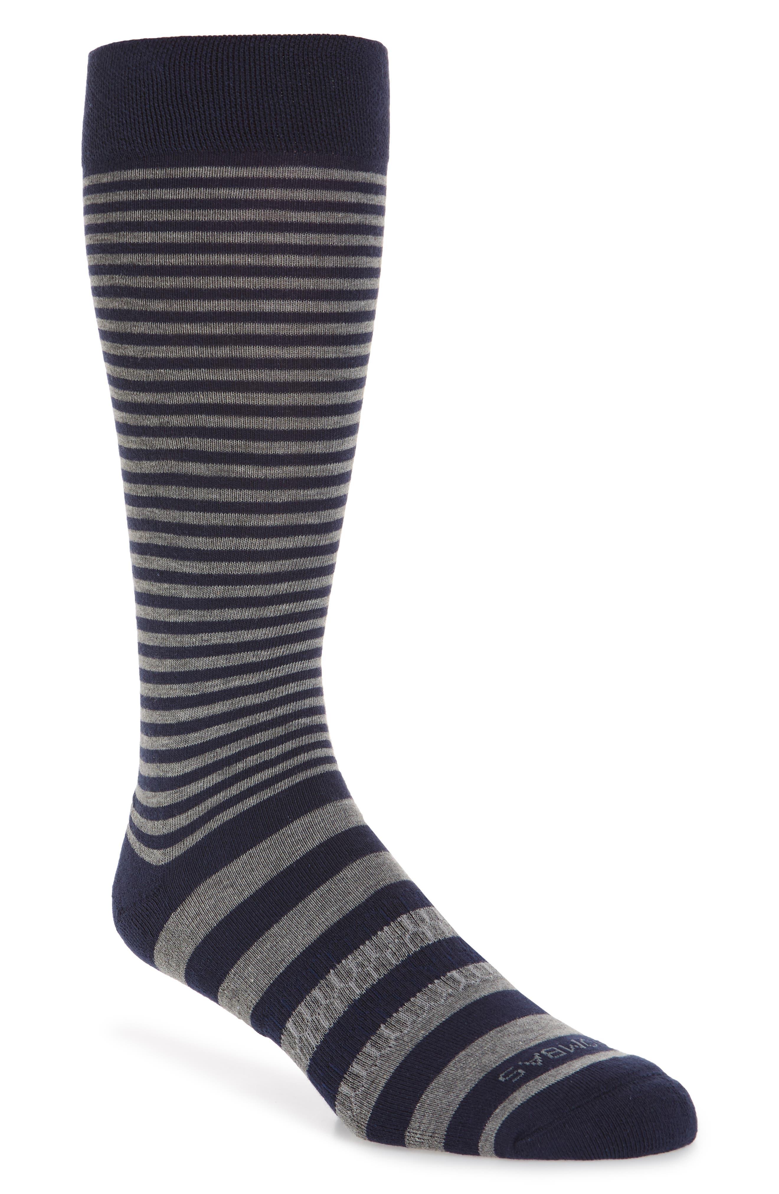 Striped Crew Socks,                             Main thumbnail 1, color,                             Navy Grey Stripe