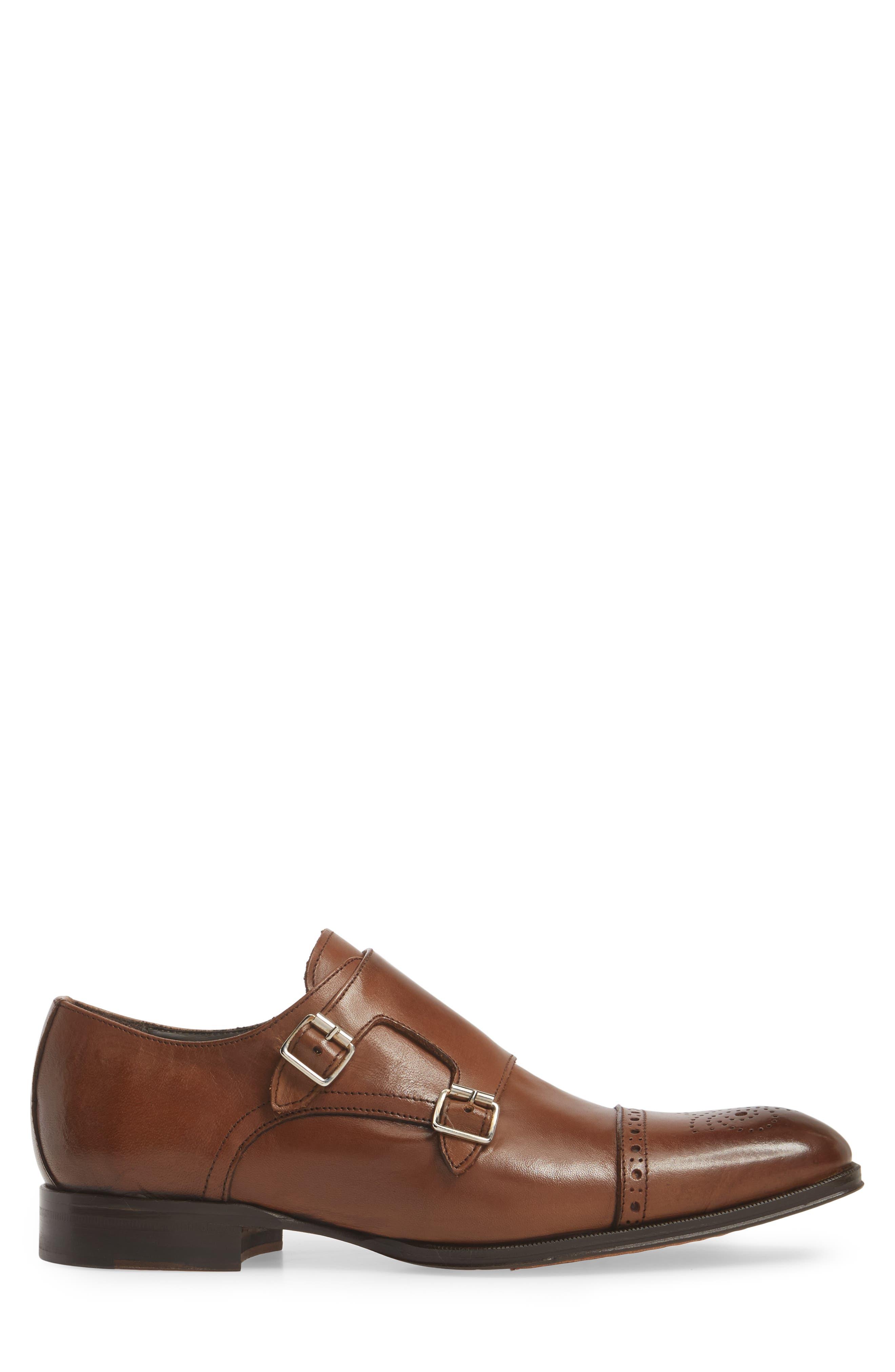 Dreyfus Cap Toe Monk Shoe,                             Alternate thumbnail 3, color,                             Brown