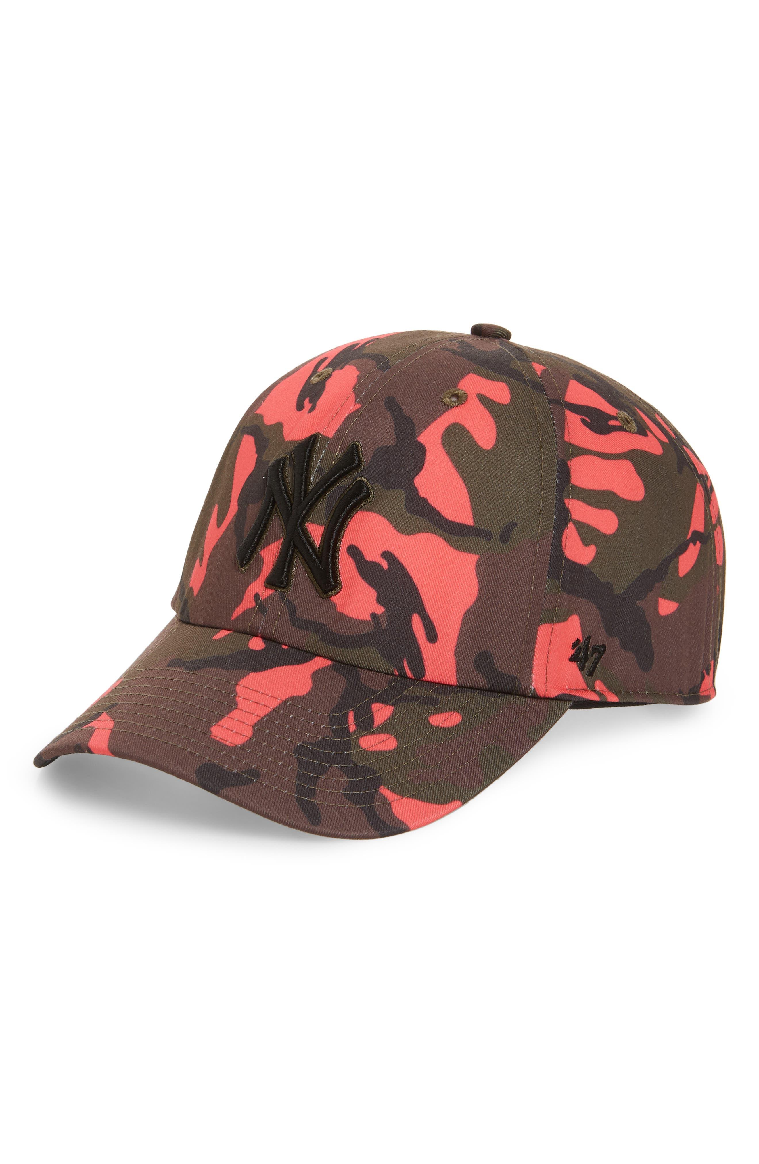 Cameon New York Yankees Camo Baseball Cap,                         Main,                         color, Pink