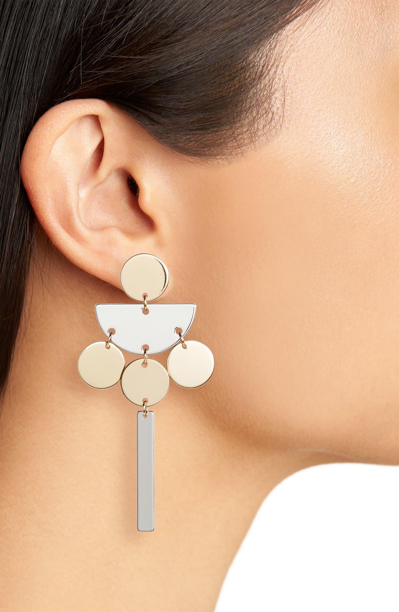 Geometric Drop Earrings,                             Alternate thumbnail 2, color,                             Gold/ Silver