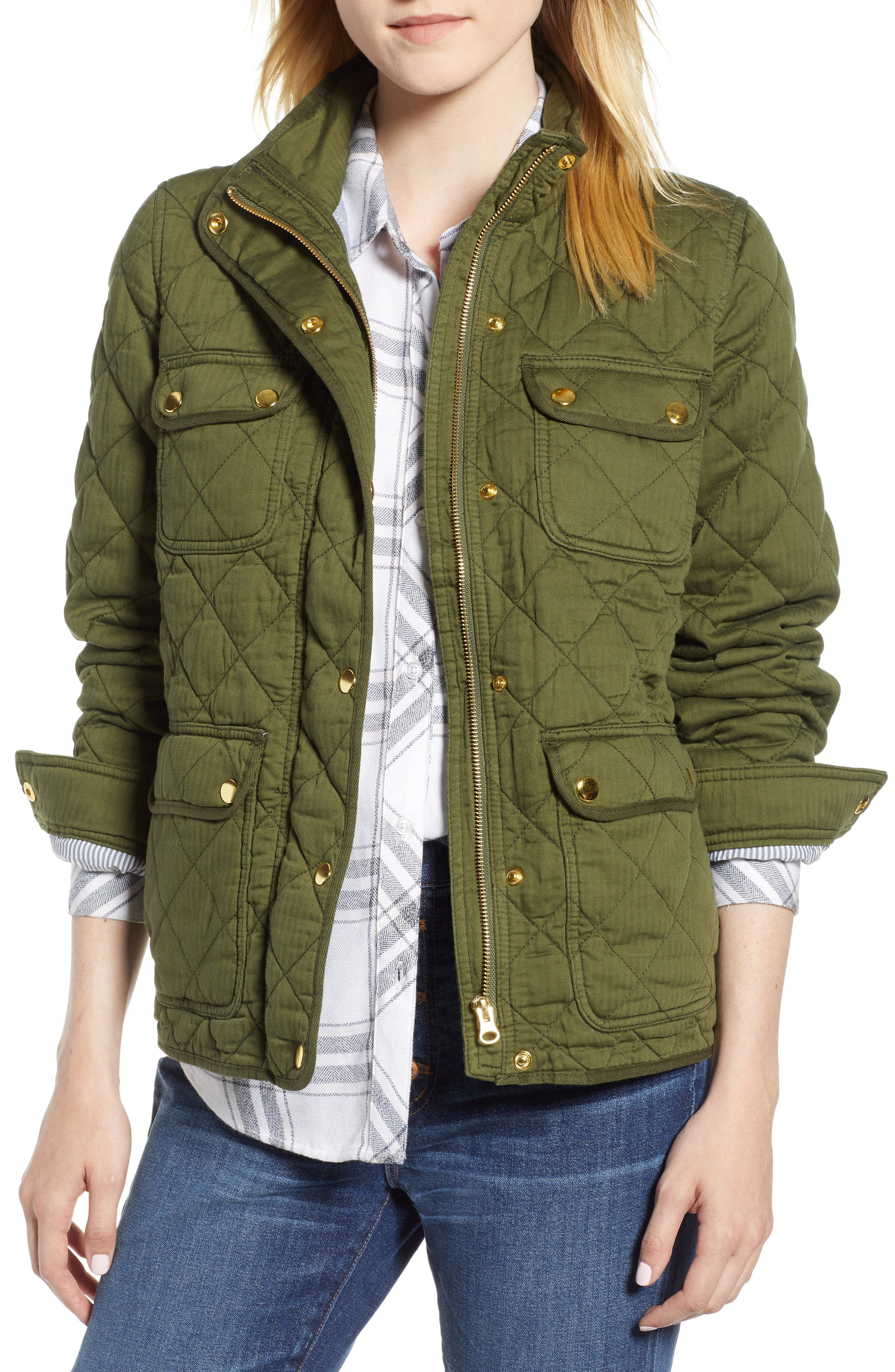 Quilted Downtown Field Jacket,                             Main thumbnail 1, color,                             Deep Moss