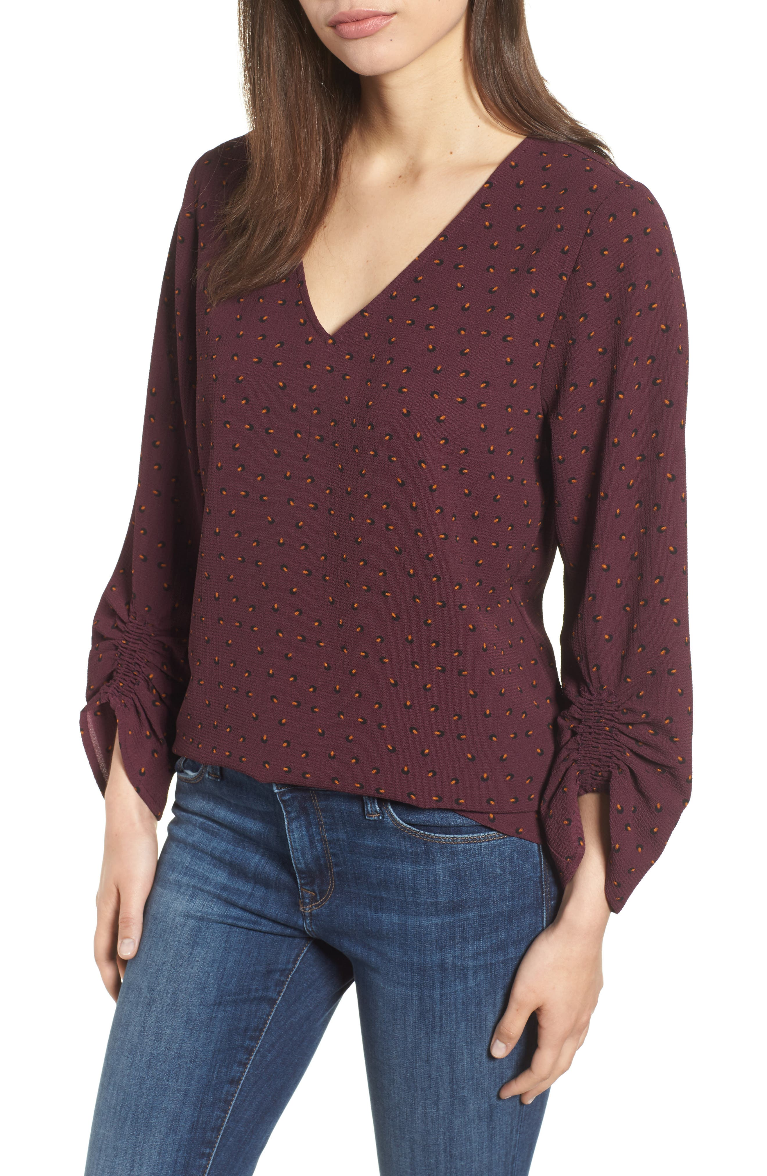 Ruched Sleeve Stretch Crepe Blouse,                         Main,                         color, Plum Gold