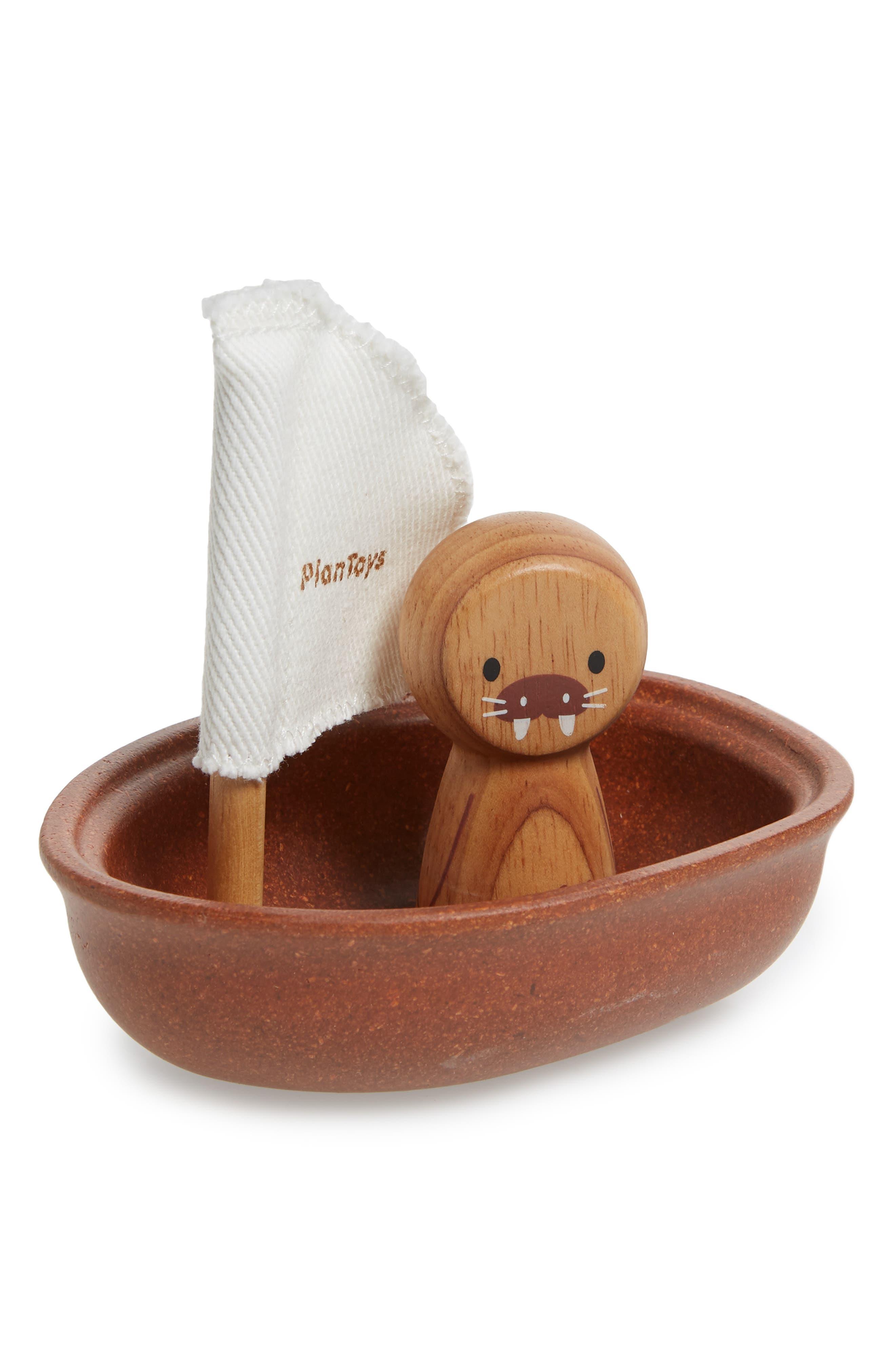 Plan Toys<sup>®</sup> Walrus Sailing Boat Toy,                             Main thumbnail 1, color,                             Brown