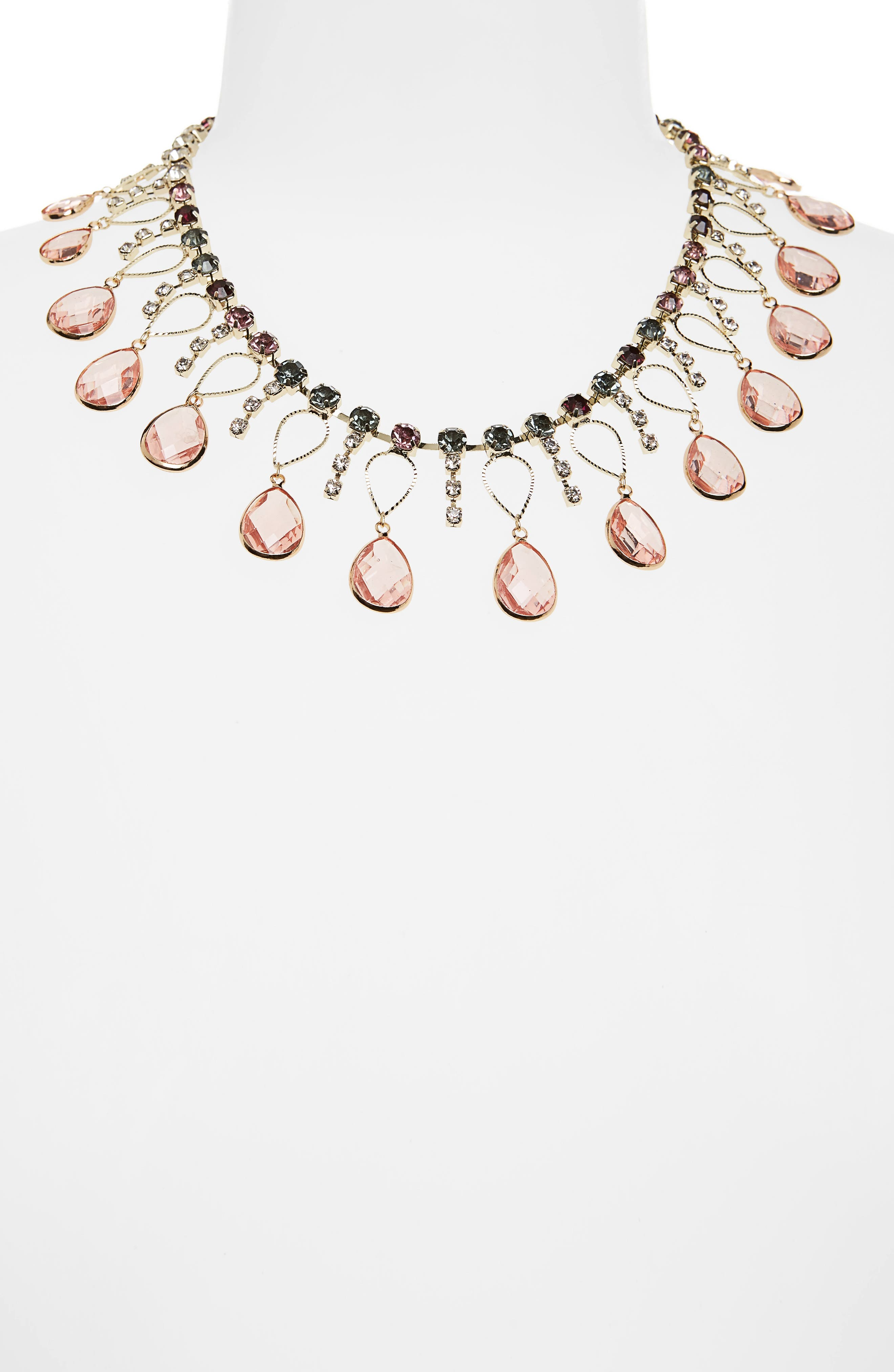 Scattered Crystal Necklace,                             Alternate thumbnail 2, color,                             Pink