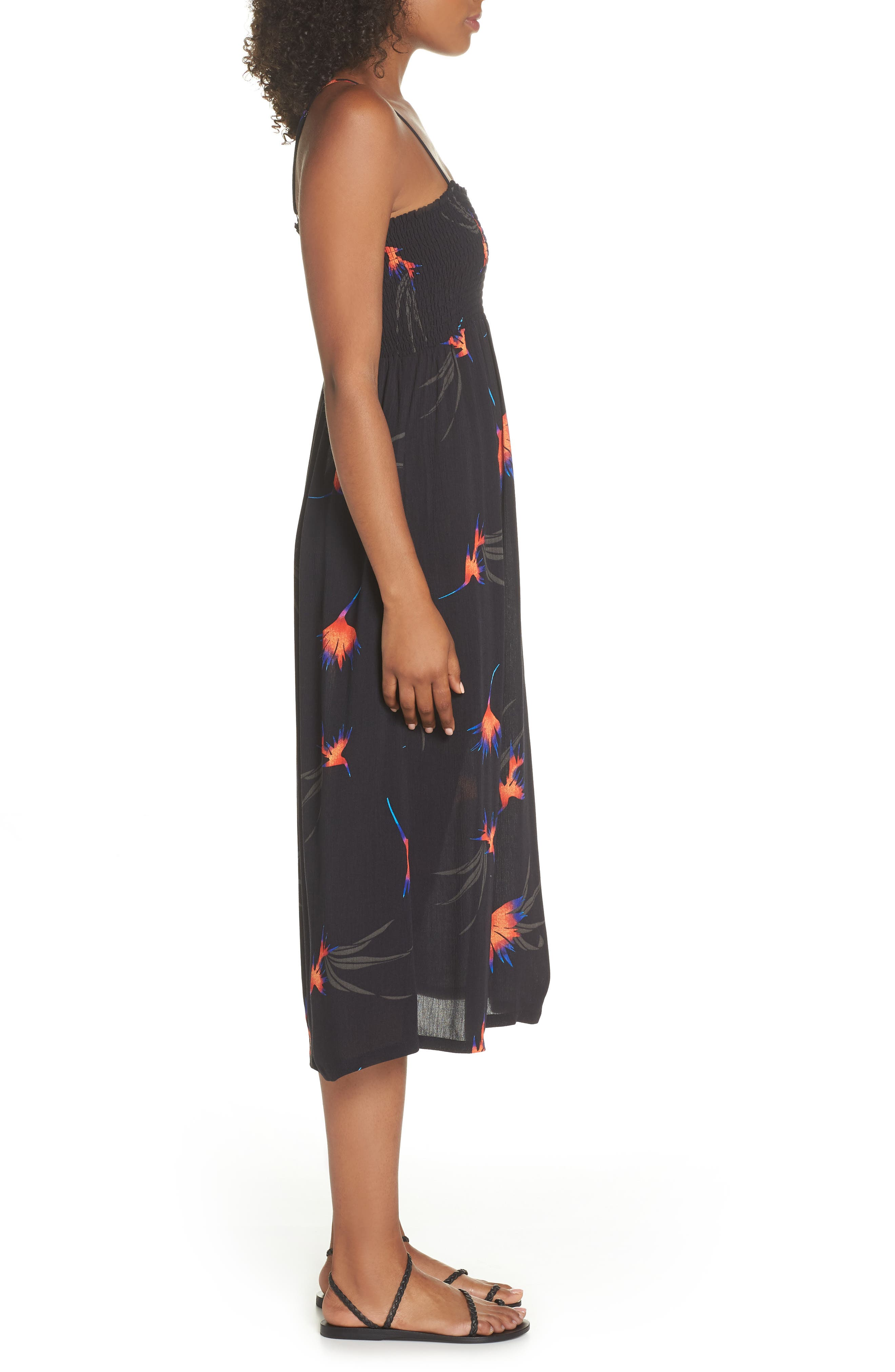 Sydney Midi Dress,                             Alternate thumbnail 3, color,                             Black Paradise City Print
