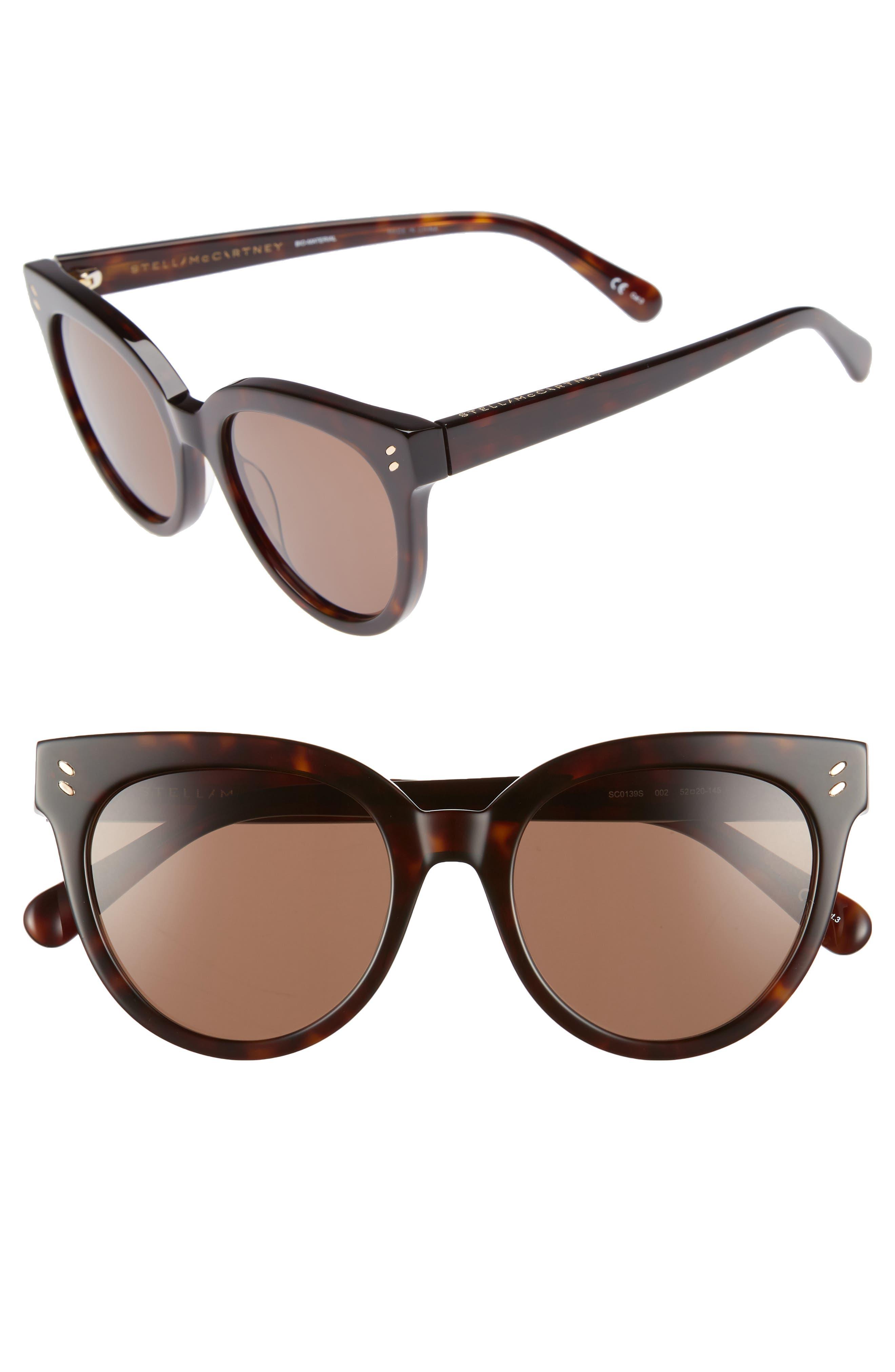 52mm Sunglasses,                         Main,                         color, Shiny Dark Havana