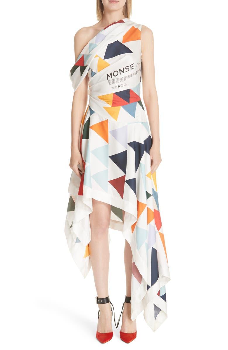 Label Geometric Print Asymmetrical Silk Dress