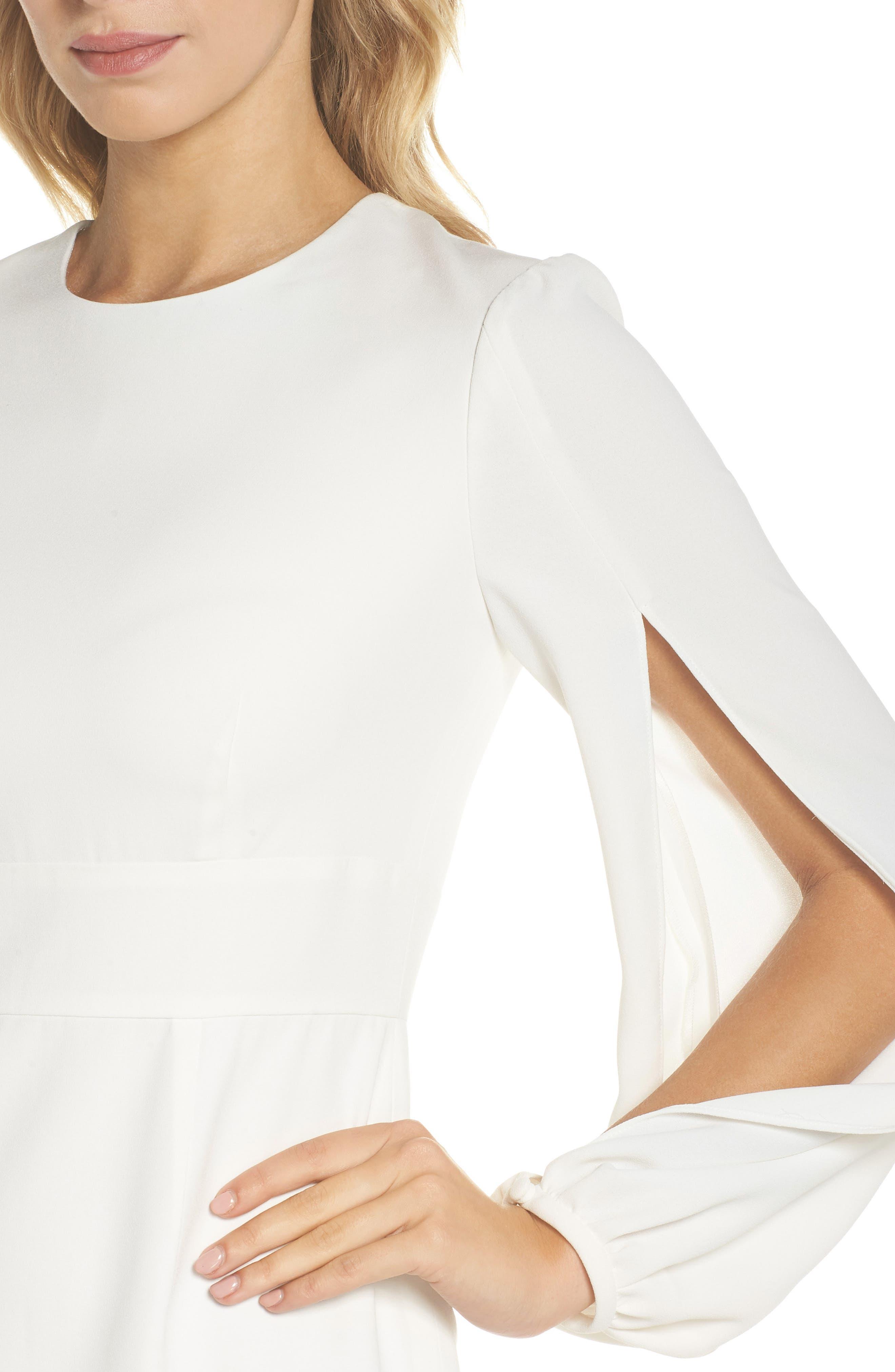 Slit Sleeve Sheath Dress,                             Alternate thumbnail 4, color,                             Off-White