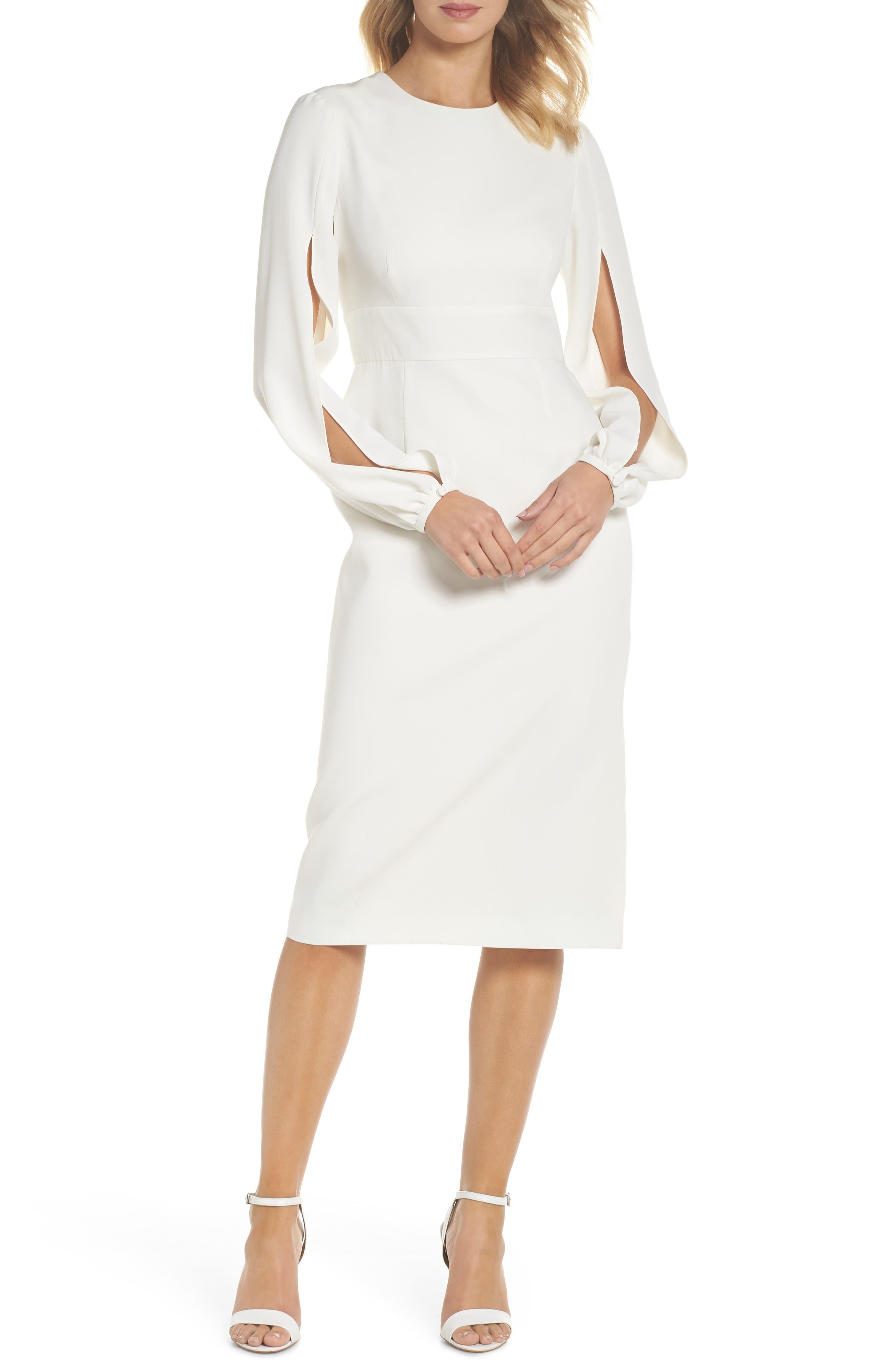 Slit Sleeve Sheath Dress,                             Main thumbnail 1, color,                             Off-White