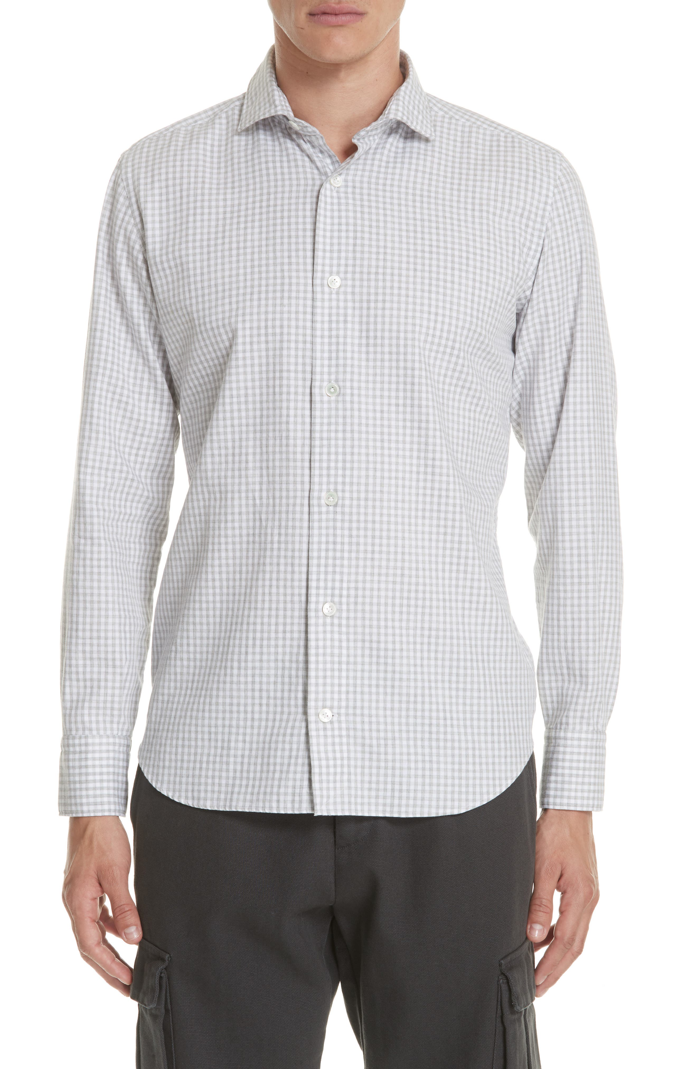 Slim Fit Check Dress Shirt,                             Main thumbnail 1, color,                             Light Grey