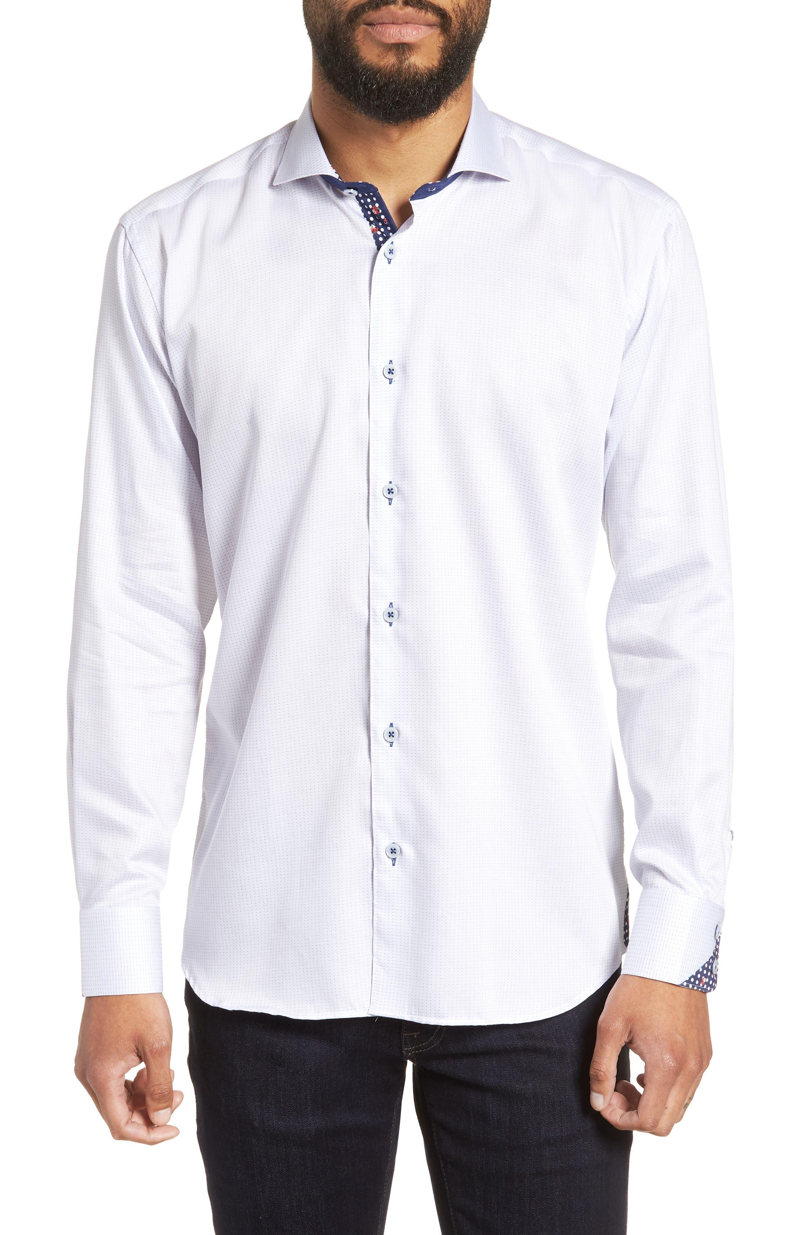 Wall Street Chelsey Dobby Sport Shirt,                             Main thumbnail 1, color,                             White