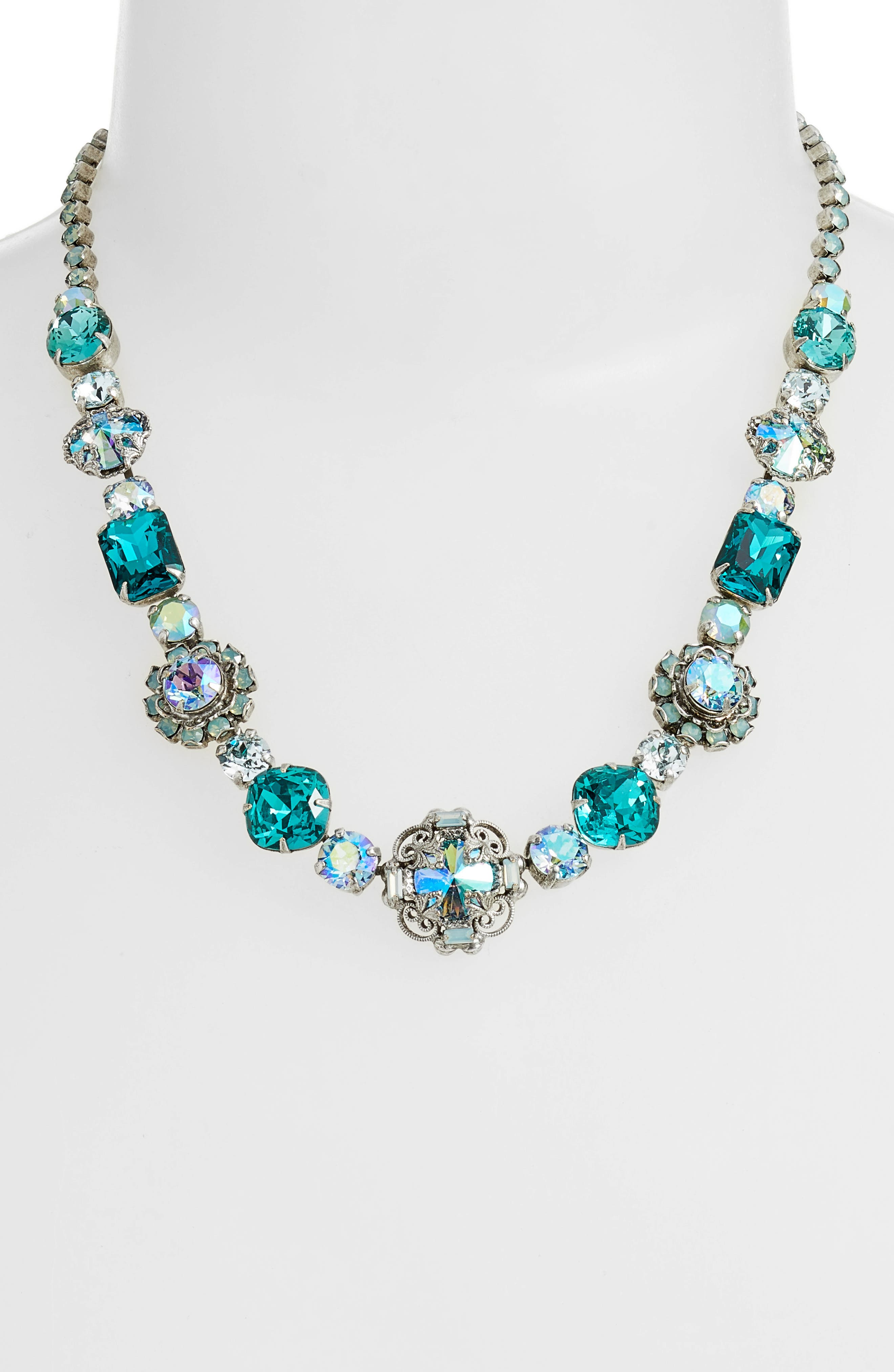 Sunflower Crystal Necklace,                             Main thumbnail 1, color,                             Blue-Green