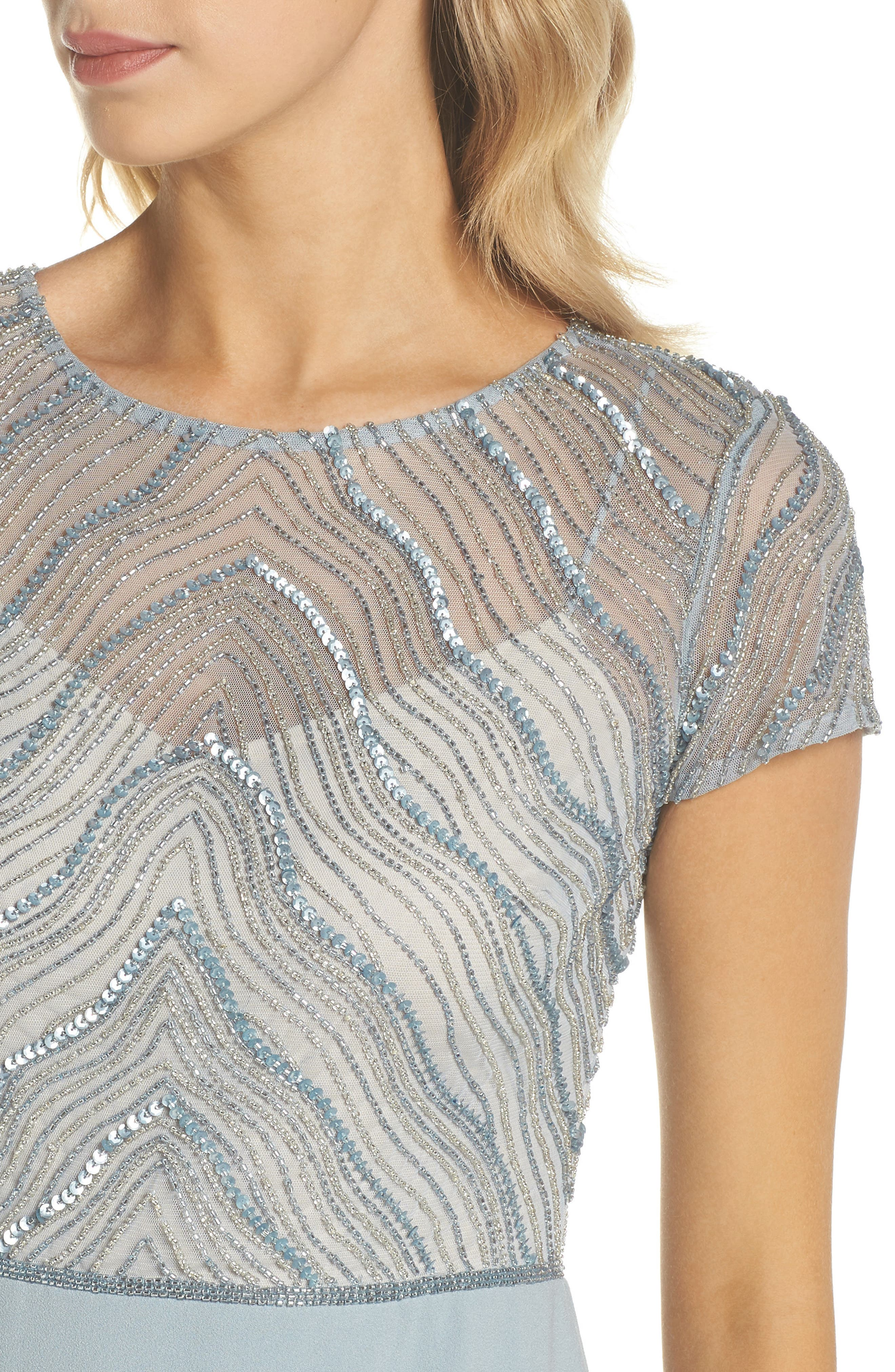 Beaded Illusion Bodice Gown,                             Alternate thumbnail 4, color,                             Blue Heather