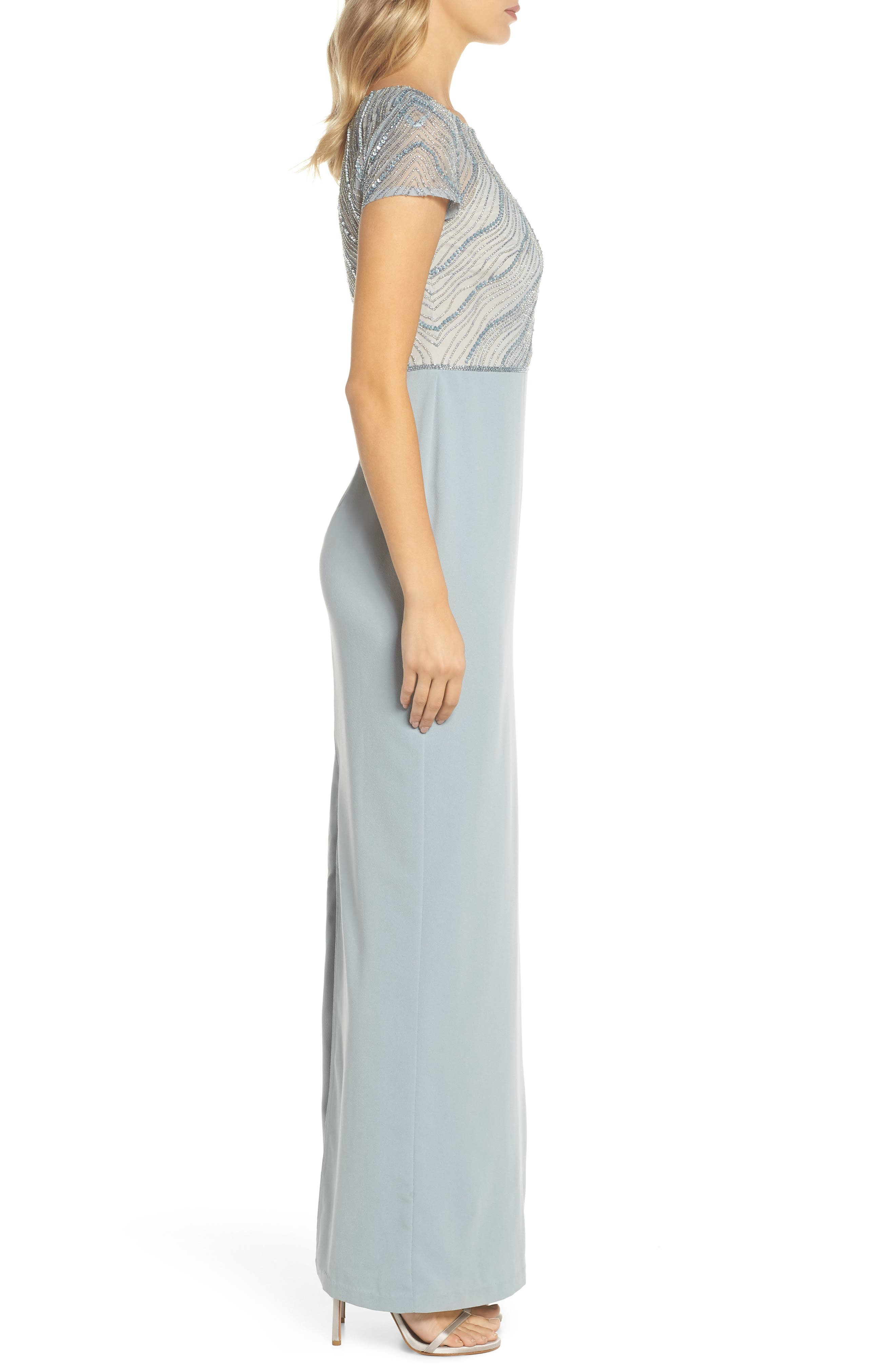 Beaded Illusion Bodice Gown,                             Alternate thumbnail 3, color,                             Blue Heather