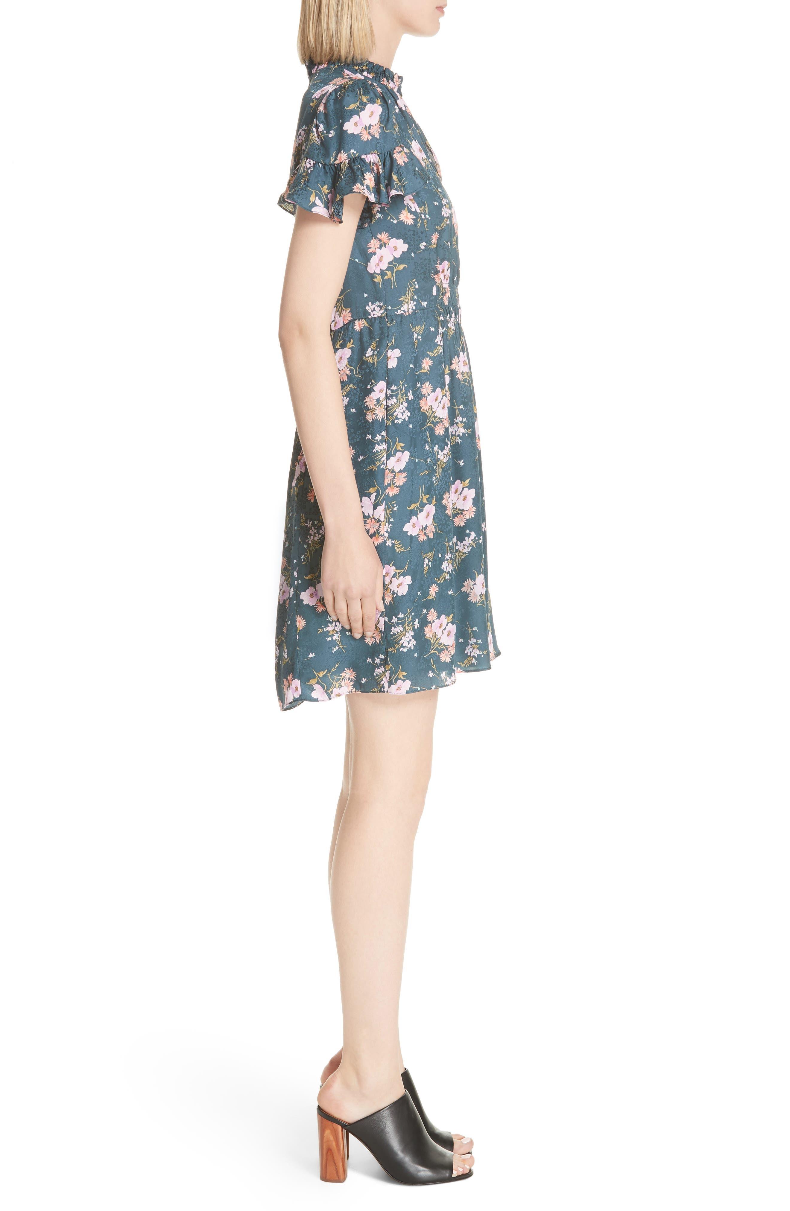 Emilia Floral Silk Jacquard Dress,                             Alternate thumbnail 5, color,                             Teal Combo