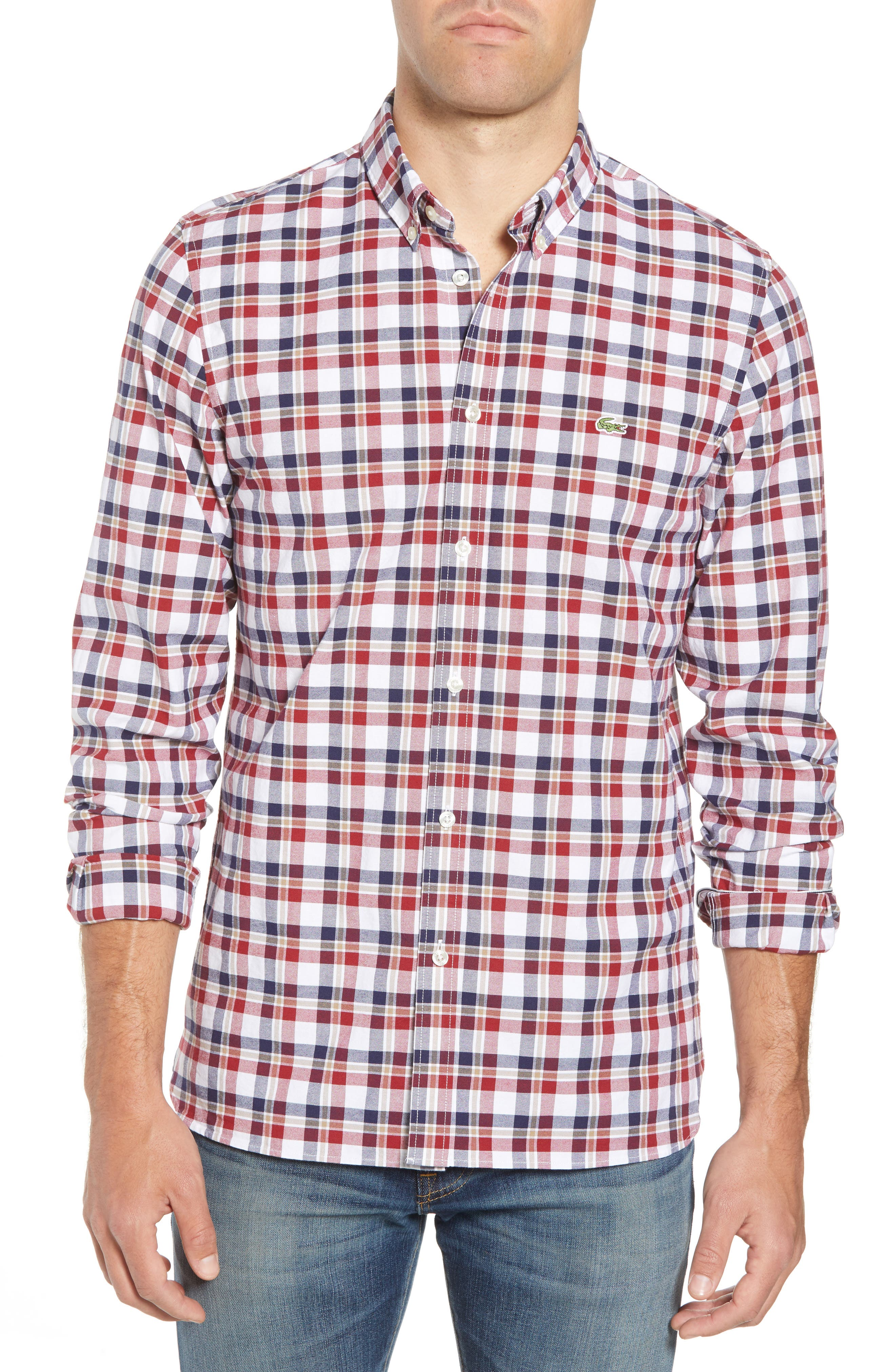 Slim Fit Check Oxford Sport Shirt,                         Main,                         color, Turkey Red