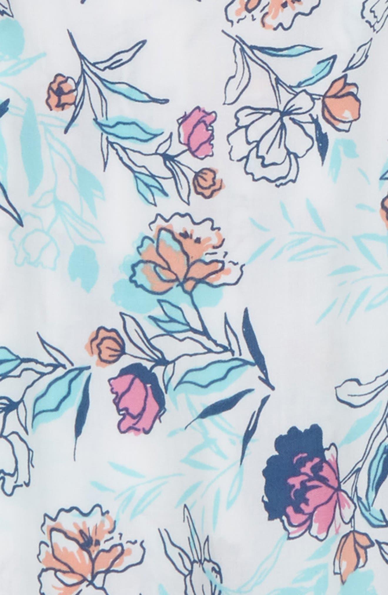 Floral Print Cold Shoulder Top,                             Alternate thumbnail 2, color,                             Off White