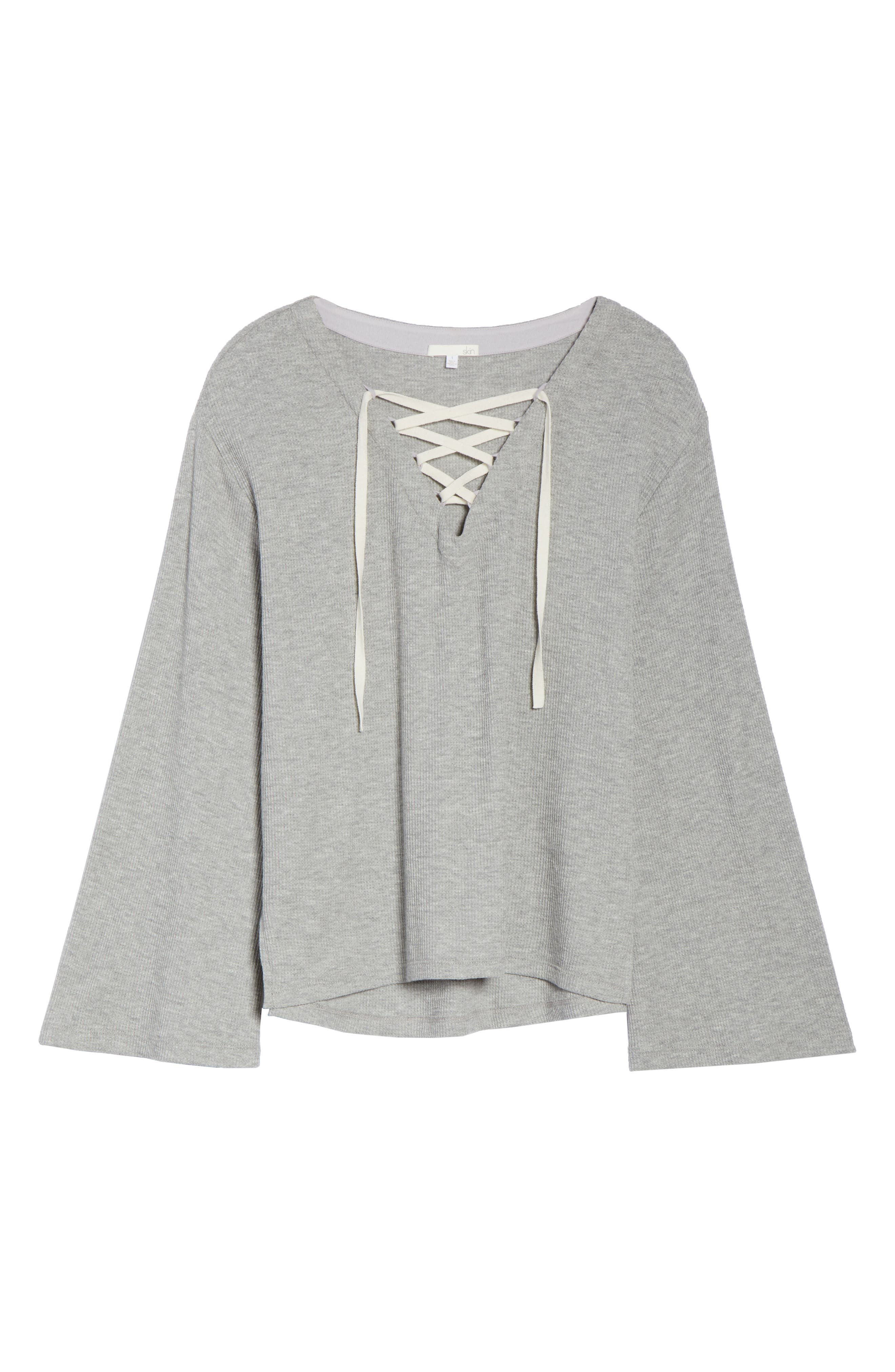 Elyse Lace-Up Waffle Knit Sleep Top,                             Alternate thumbnail 7, color,                             Heather Grey