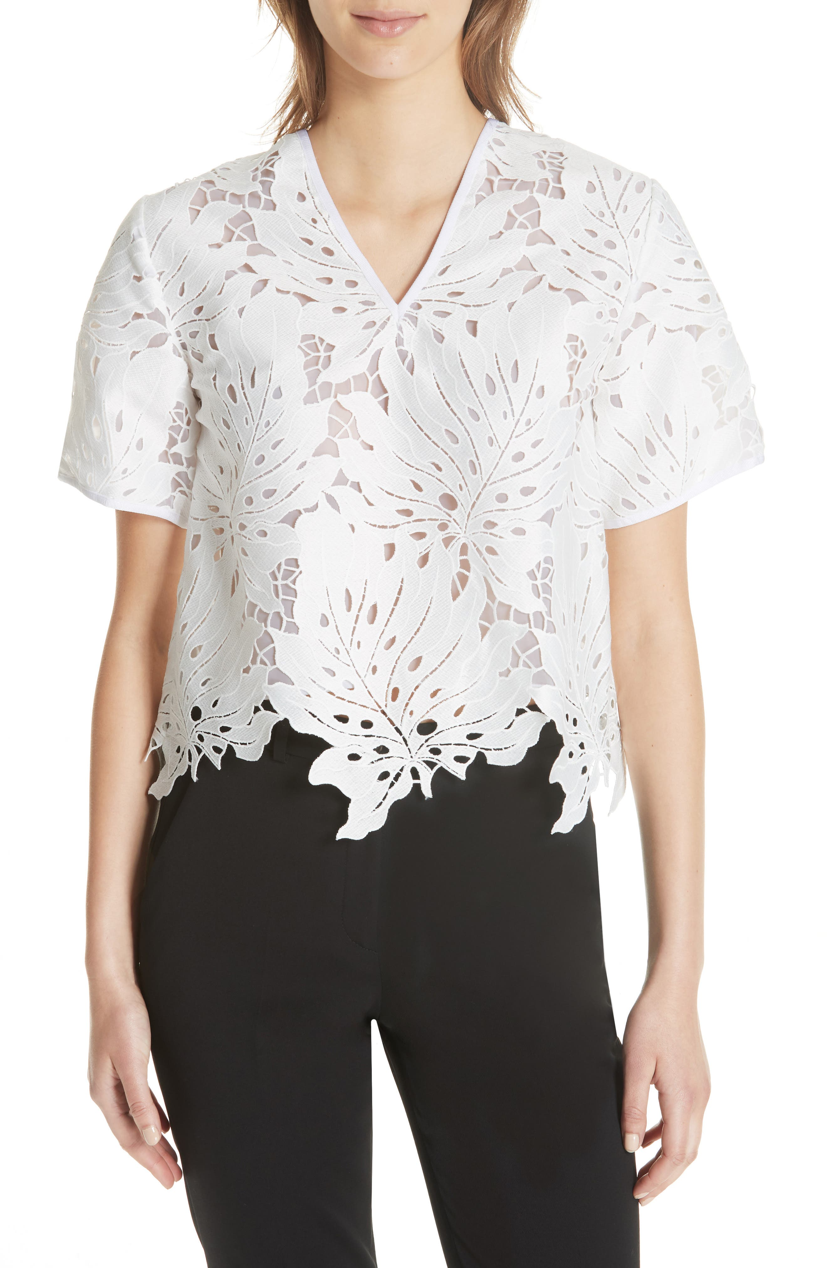 Bow Embellished Lace Top,                             Main thumbnail 1, color,                             White 01