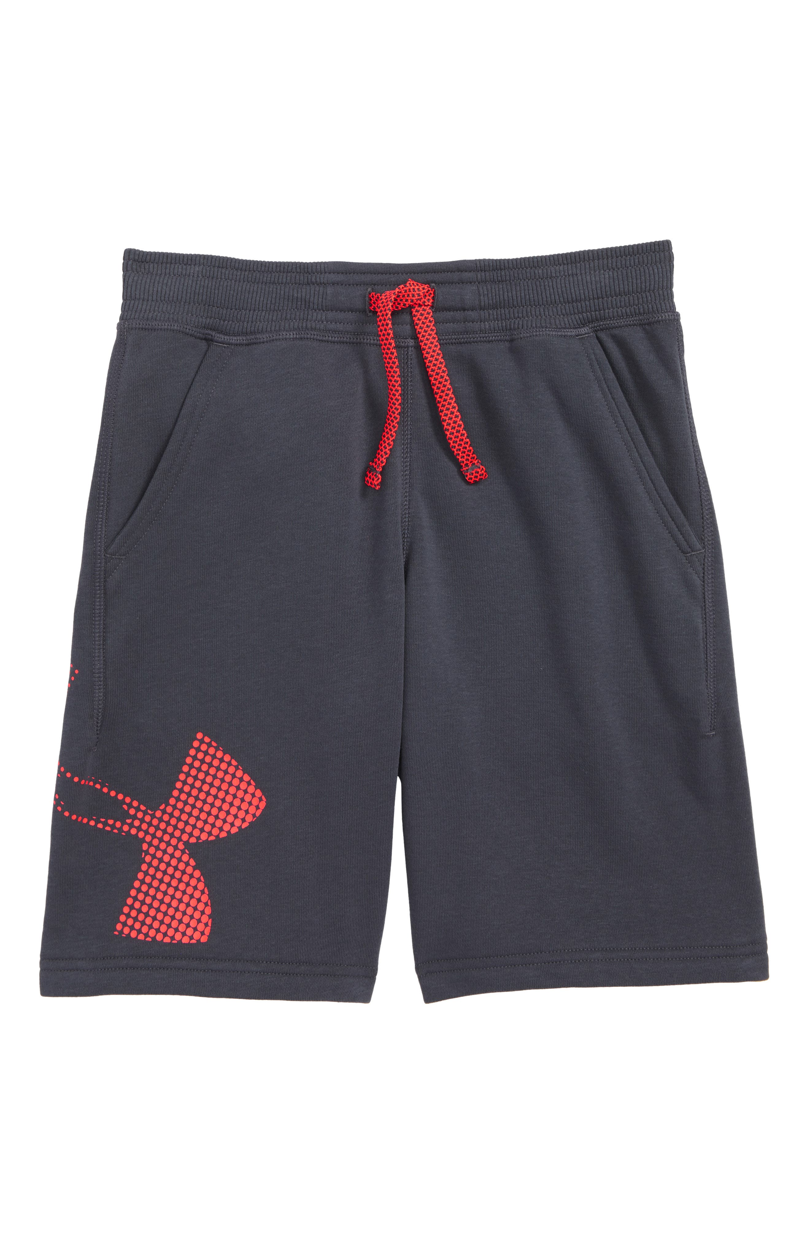 Graphic Knit Shorts,                         Main,                         color, Stealth Gray/ Neon Coral