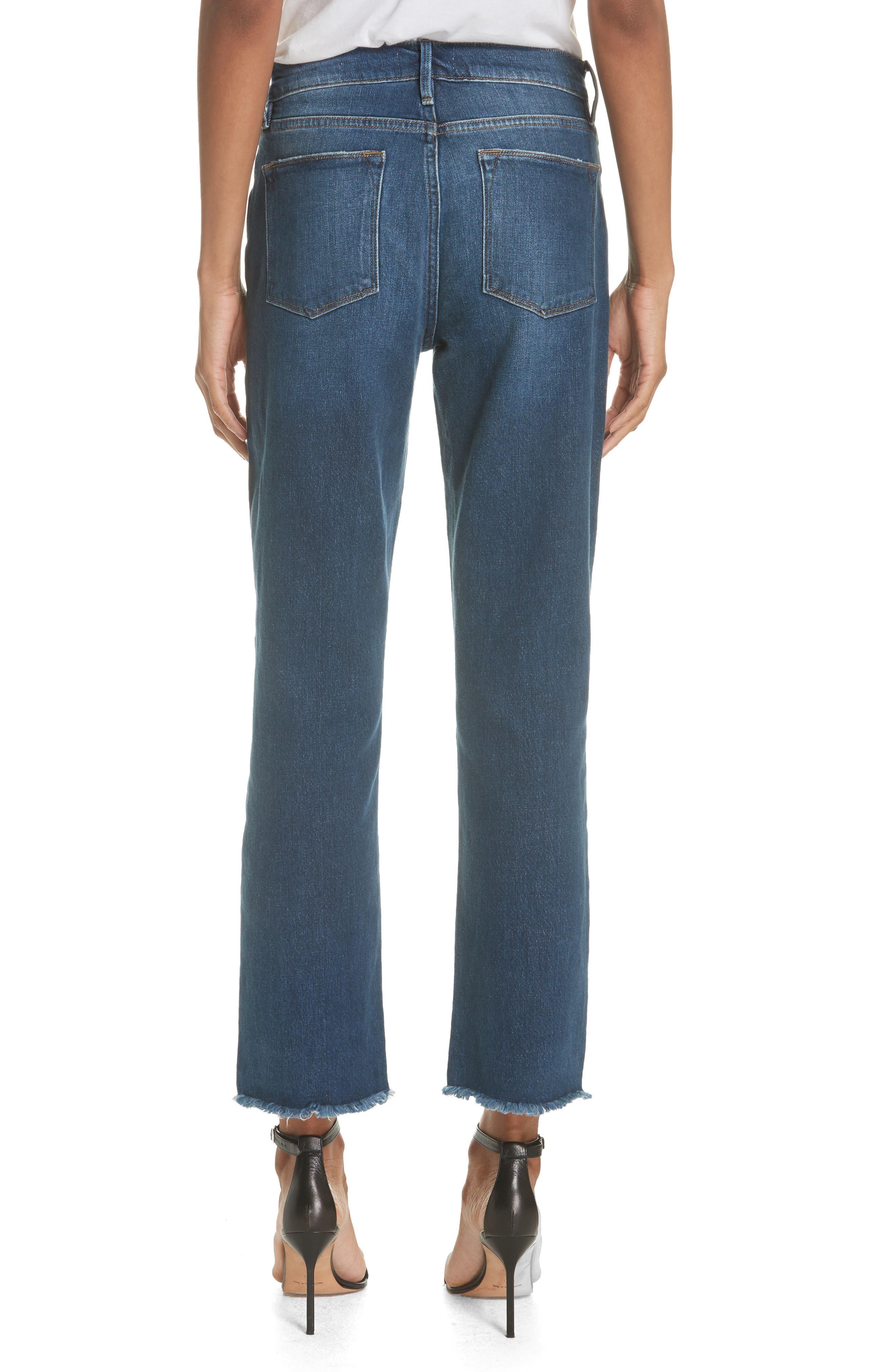 Le High Straight Asymmetrical Hem Jeans,                             Alternate thumbnail 2, color,                             Kingsway