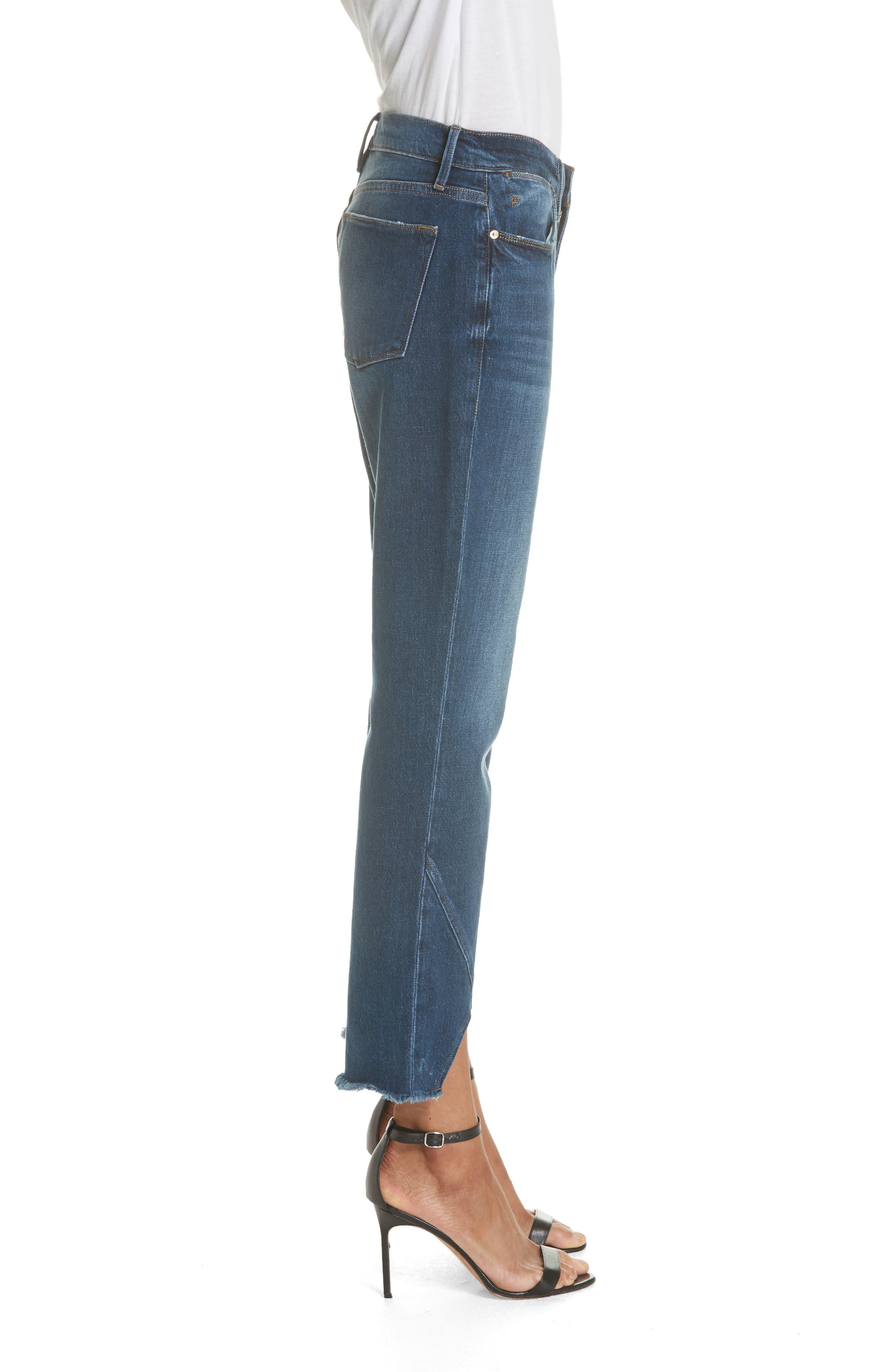 Le High Straight Asymmetrical Hem Jeans,                             Alternate thumbnail 3, color,                             Kingsway