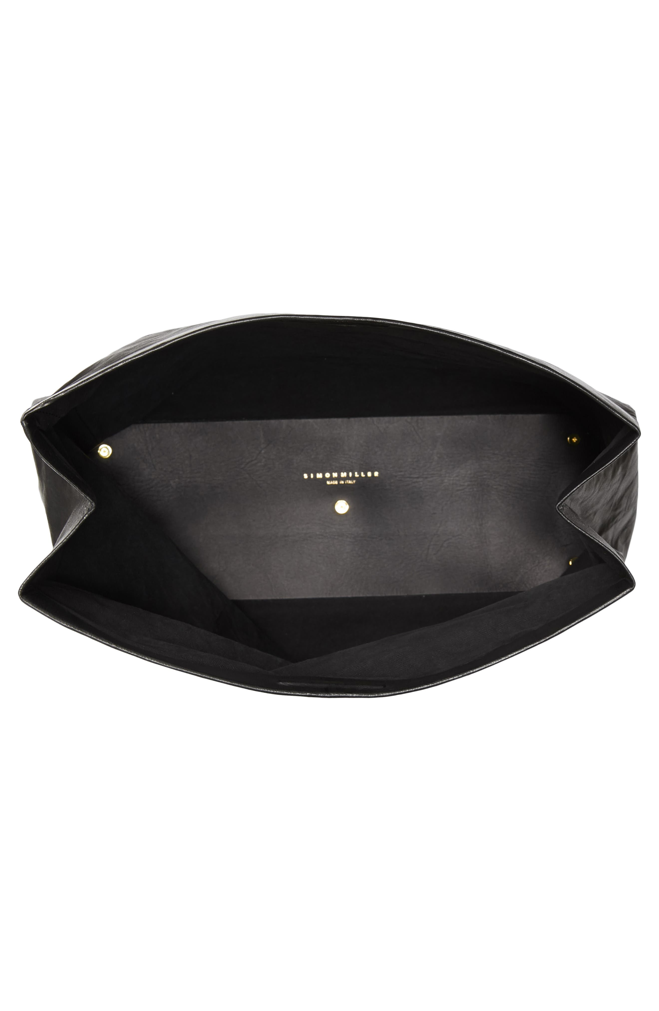 Lunchbag Leather Roll Top Clutch,                             Alternate thumbnail 4, color,                             Black