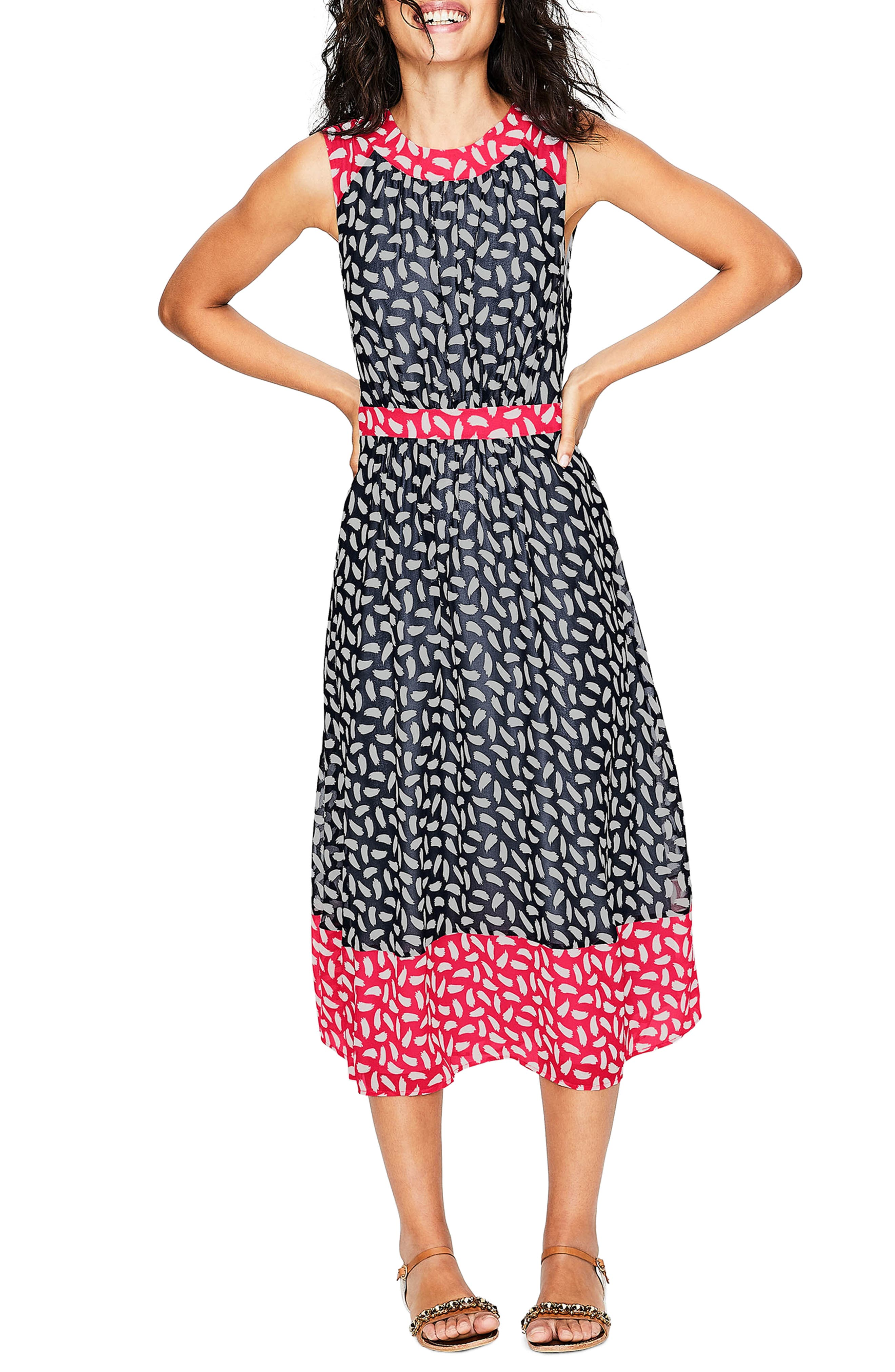 Sylvie Print Sleeveless Dress,                         Main,                         color, Navy Brush Stroke