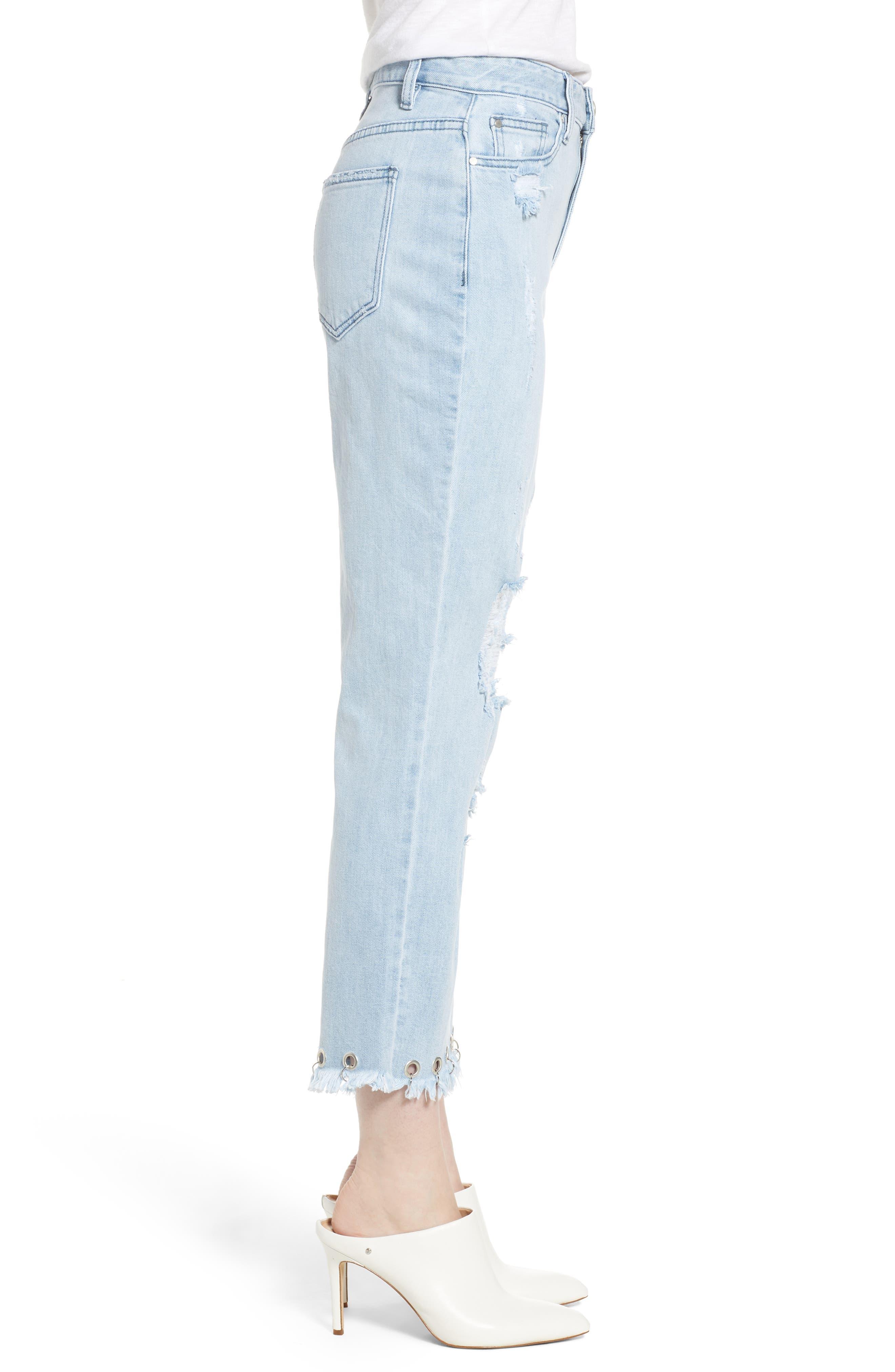 Grommet Hem Distressed Crop Jeans,                             Alternate thumbnail 3, color,                             Light Wash