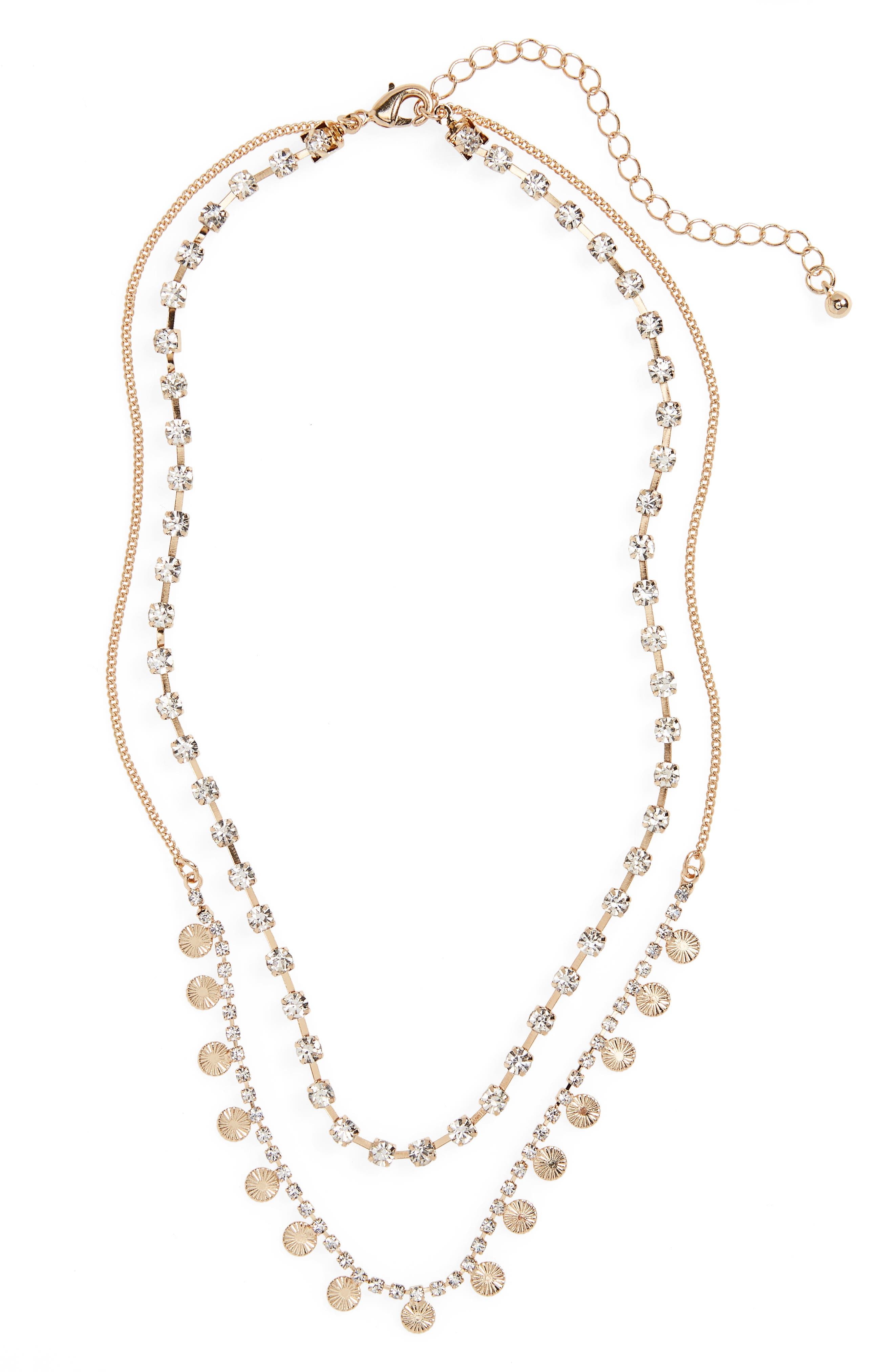 Layered Crystal Charm Necklace,                             Main thumbnail 1, color,                             Gold/ Crystal