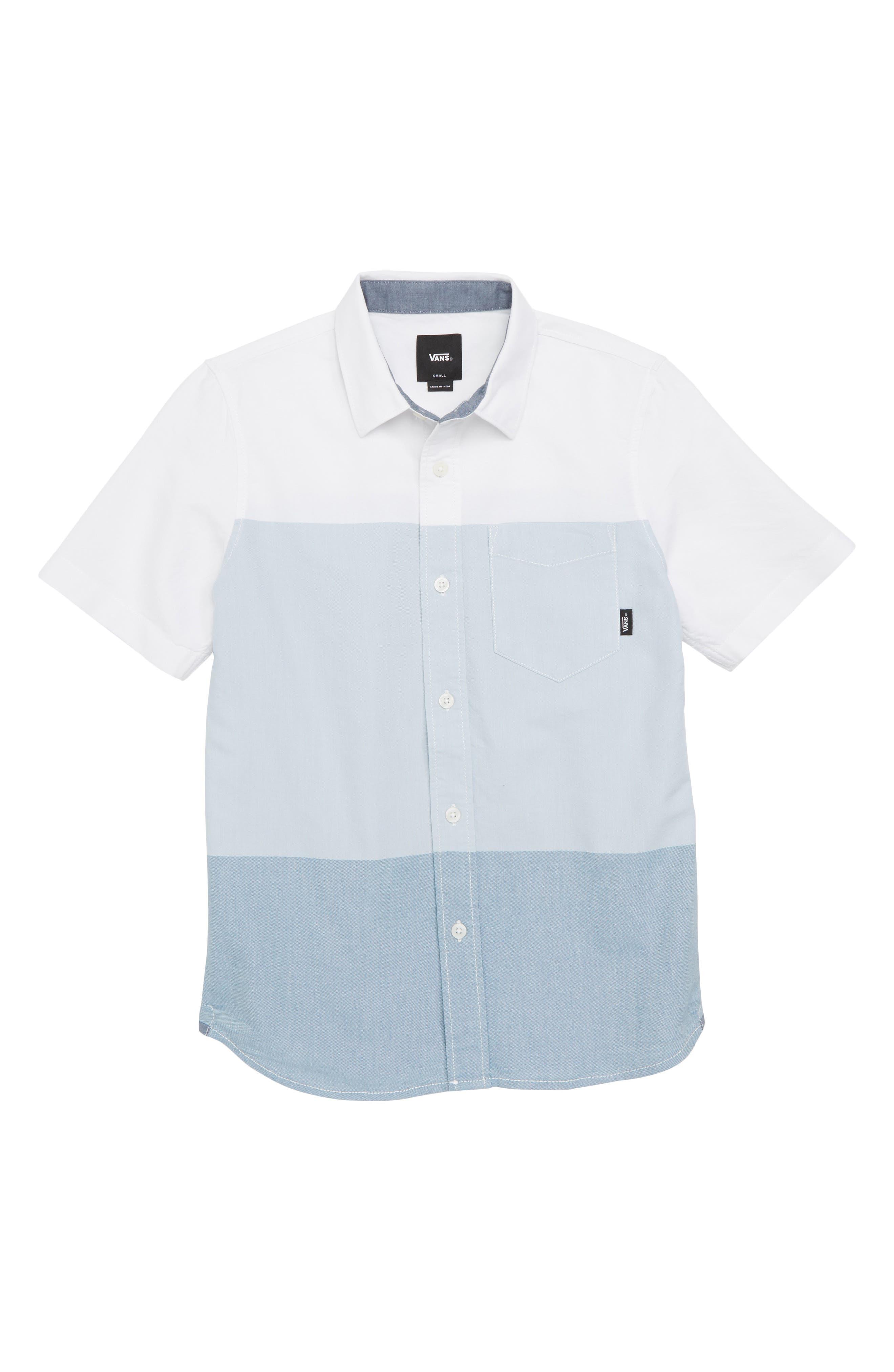 Houser Woven Shirt,                             Main thumbnail 1, color,                             White/ Real Teal