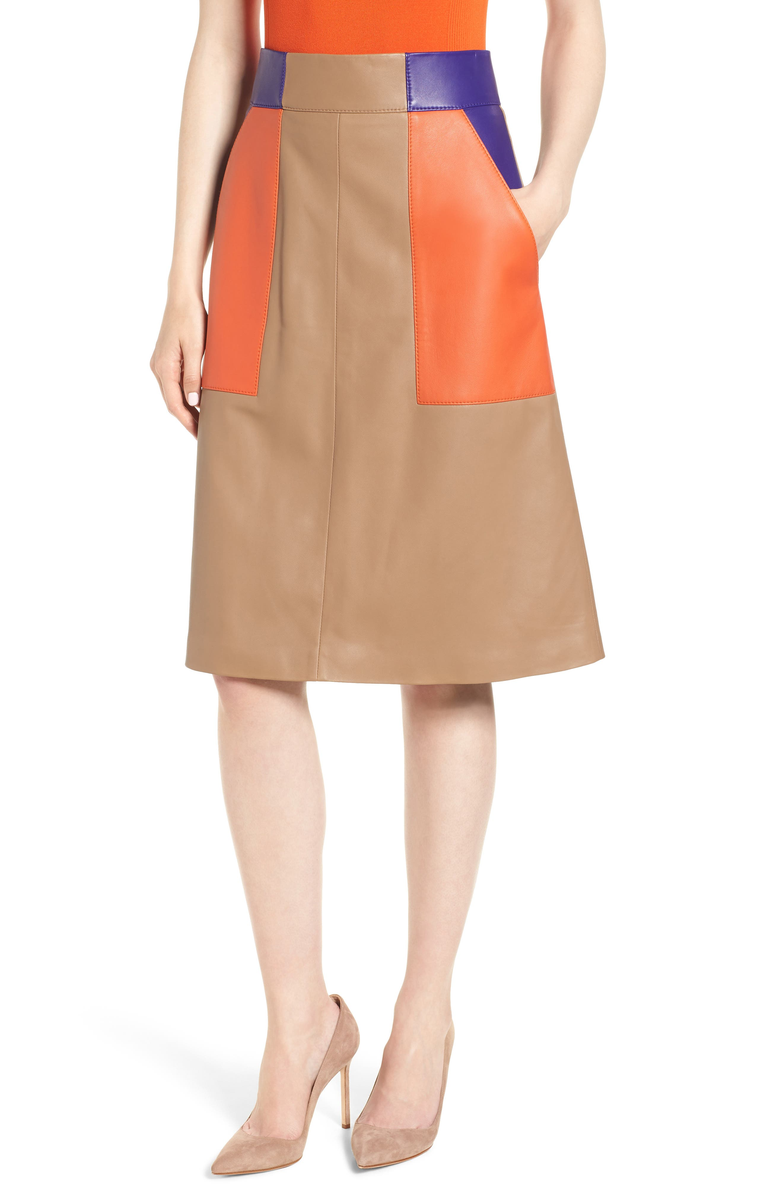 Seplea Colorblock Leather Skirt,                         Main,                         color, Warm Clay Fantasy