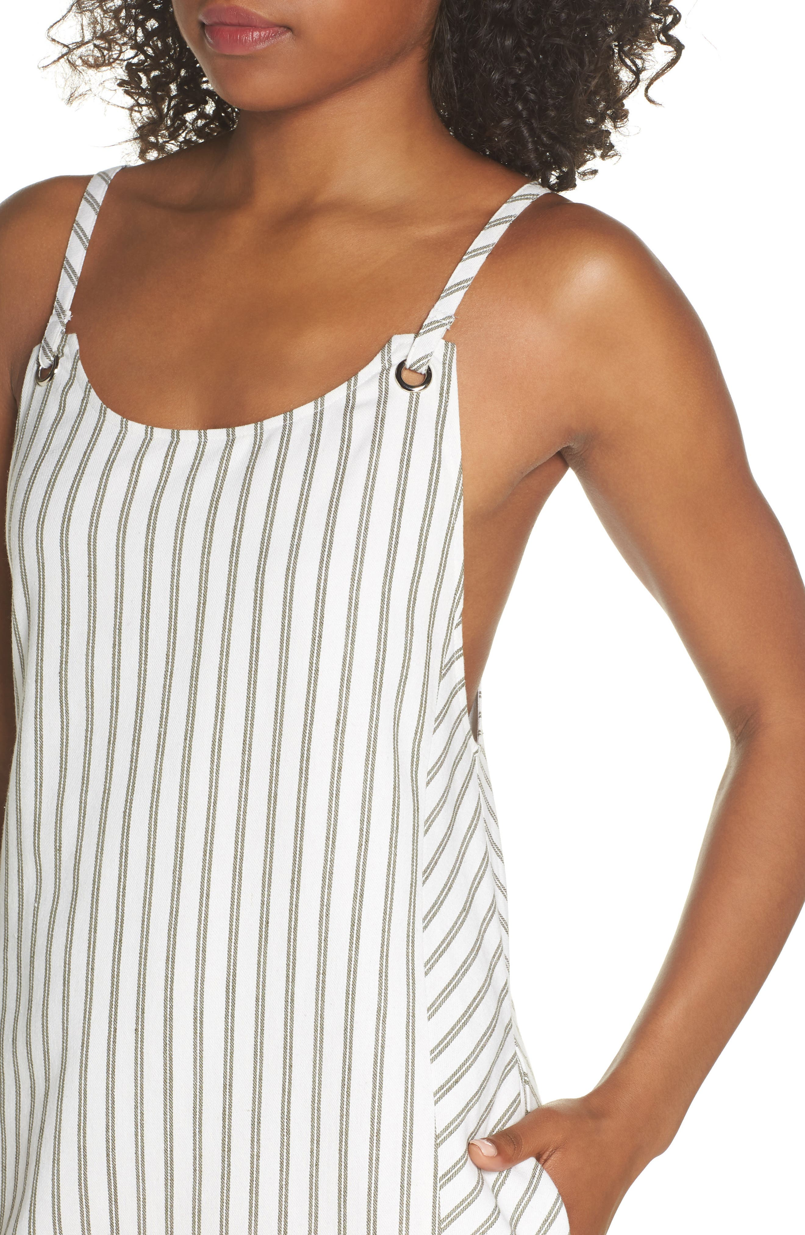 Striped Overall Dress,                             Alternate thumbnail 4, color,                             Sage