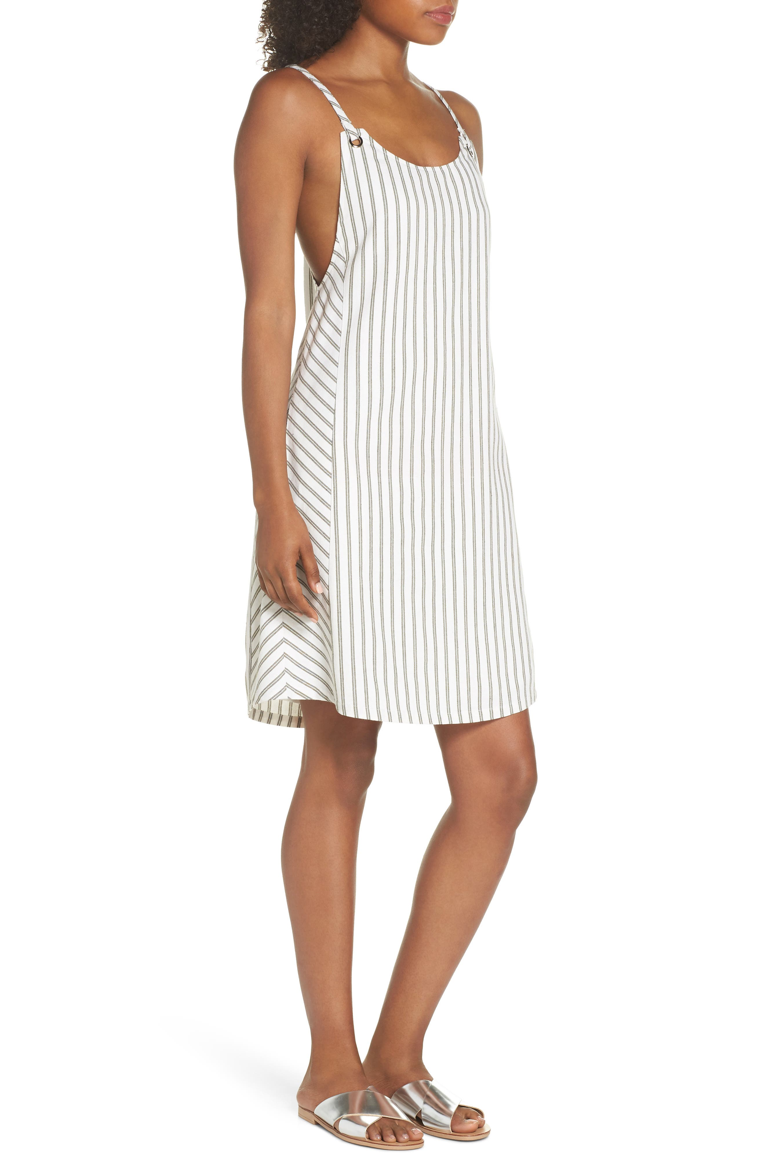 Striped Overall Dress,                             Alternate thumbnail 3, color,                             Sage