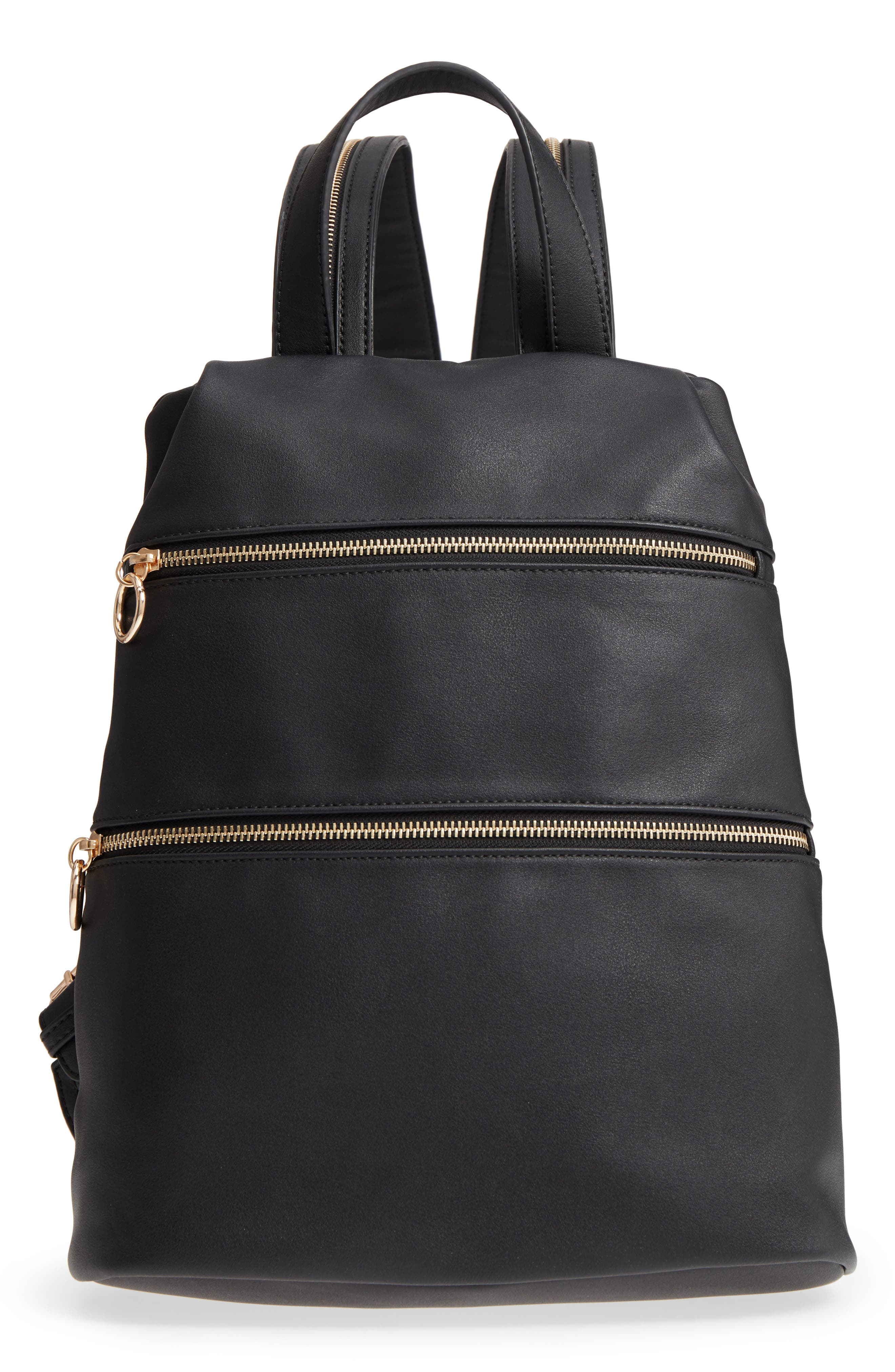 Double Zip O Ring Faux Leather Backpack,                             Main thumbnail 1, color,                             Black