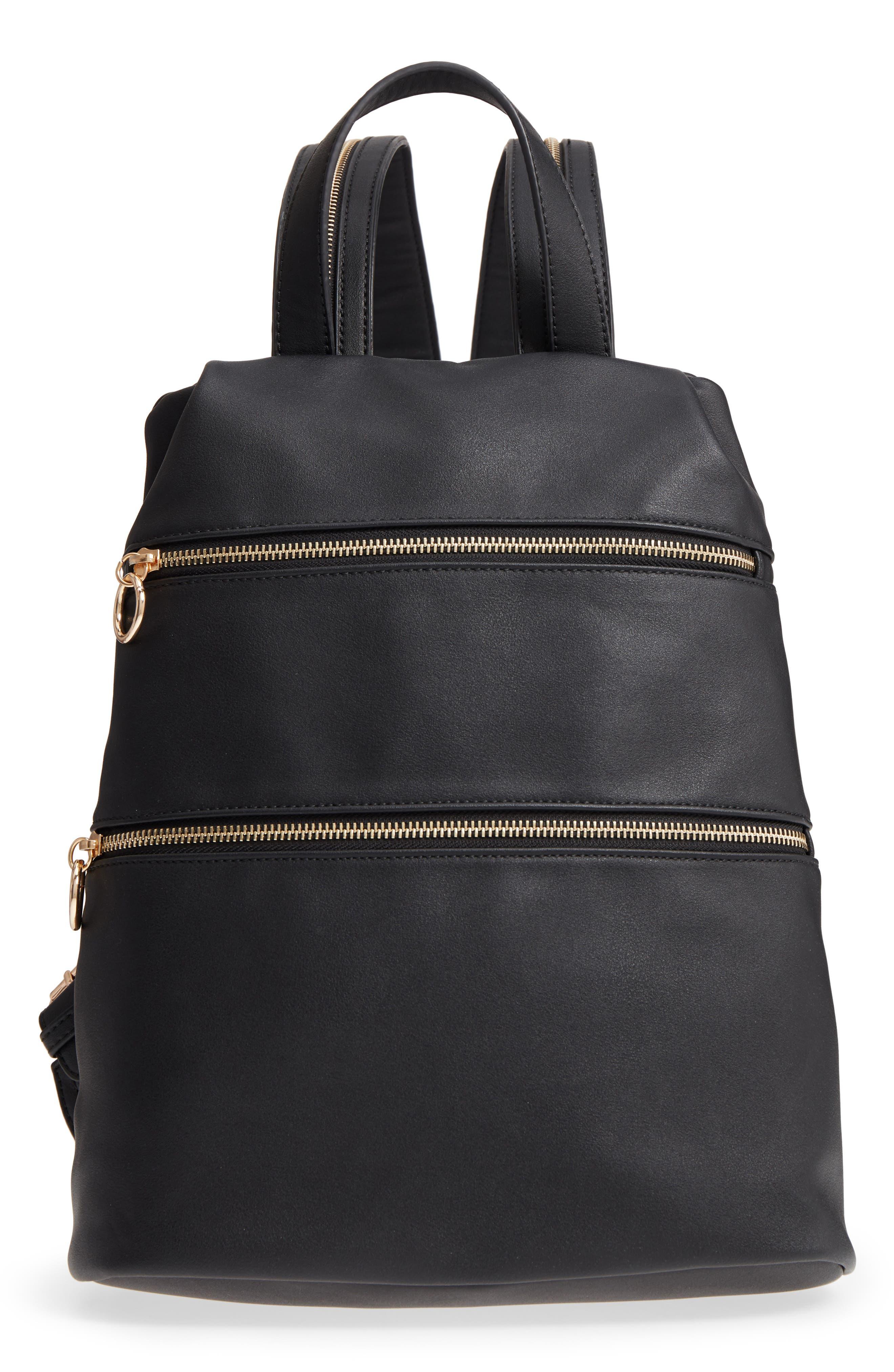 Malibu Skye Double Zip O Ring Faux Leather Backpack