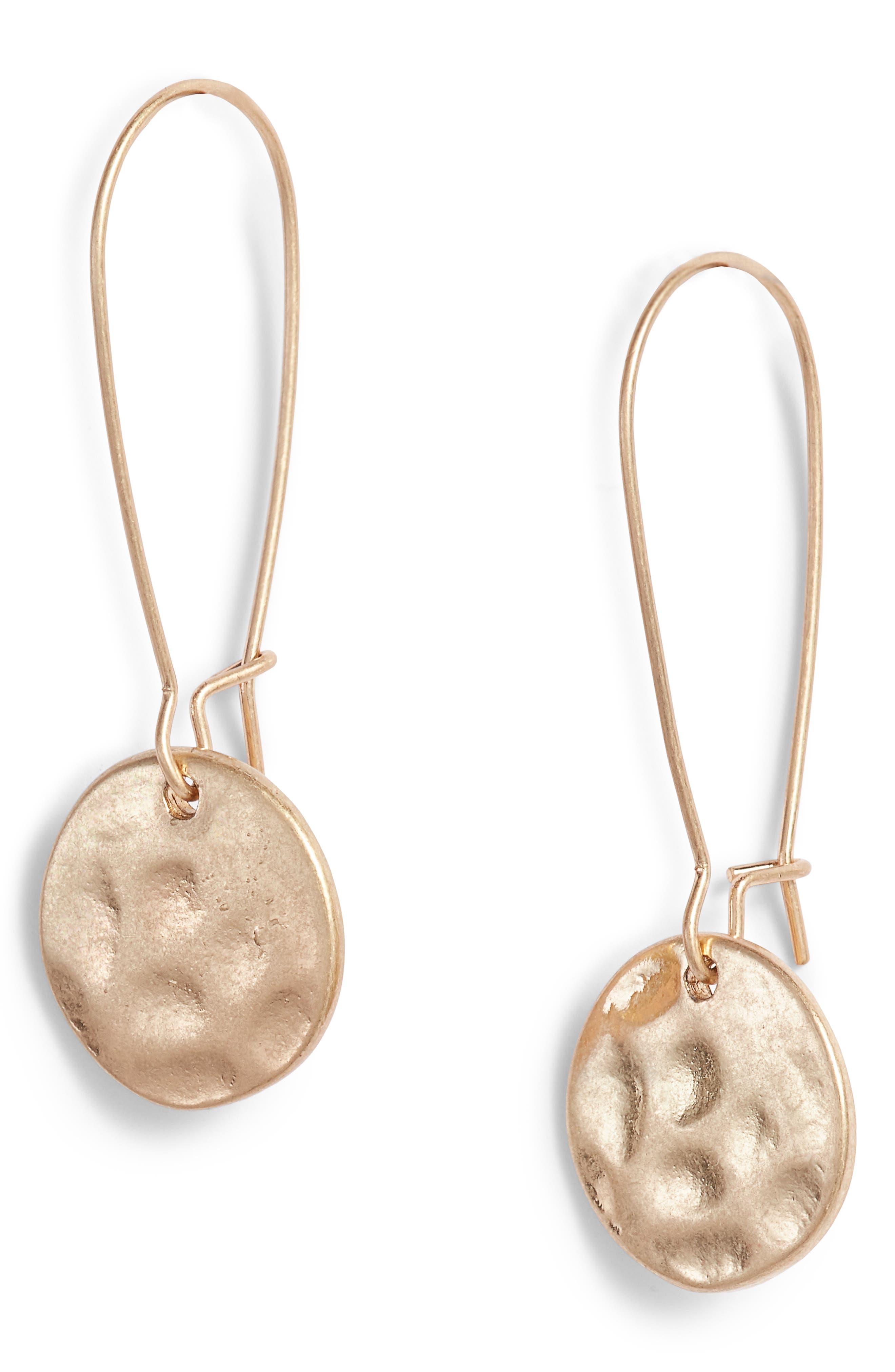 Organic Disc Threaded Drop Earrings,                             Main thumbnail 1, color,                             Gold