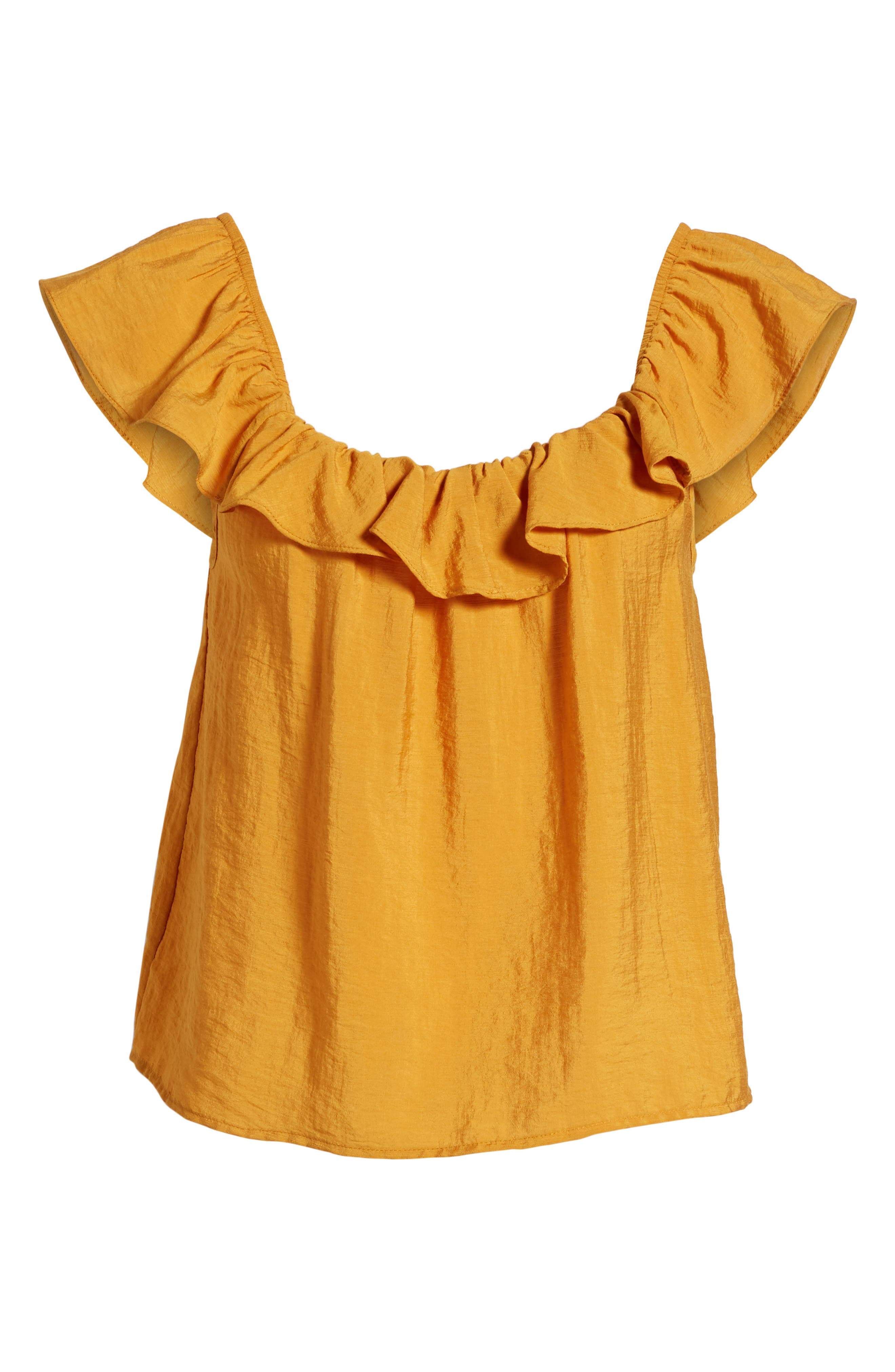 Ruffle Trim Top,                             Alternate thumbnail 6, color,                             Yellow Spruce