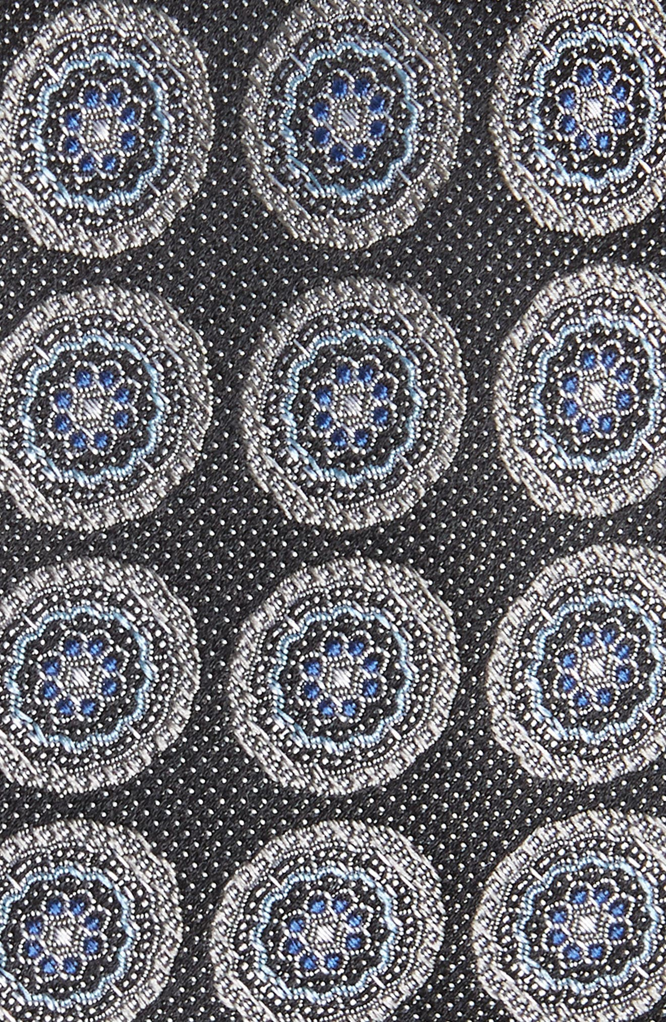 Pinpoint Medallion Silk Tie,                             Alternate thumbnail 2, color,                             Night