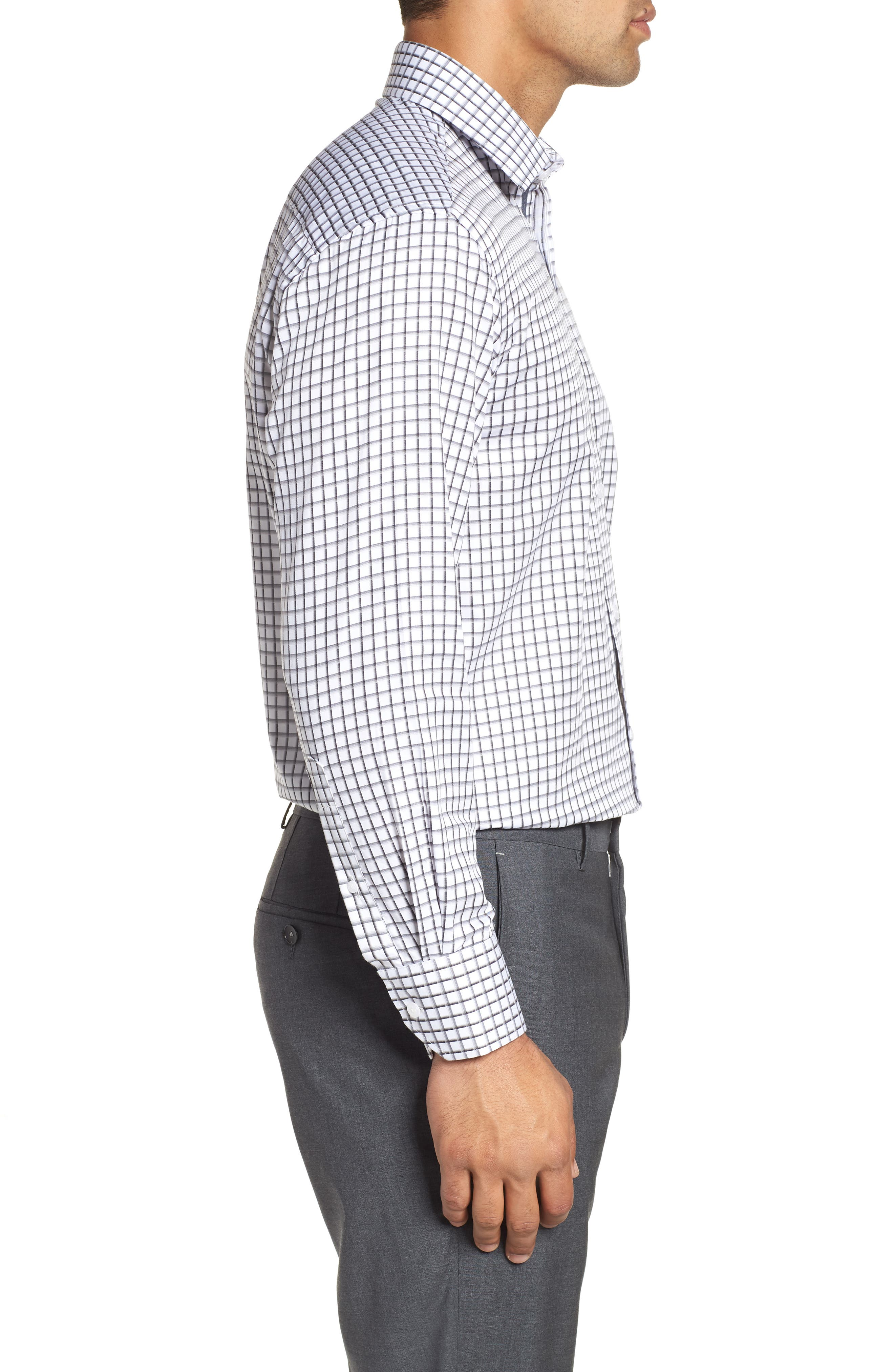 Regular Fit Check Dress Shirt,                             Alternate thumbnail 4, color,                             Grey