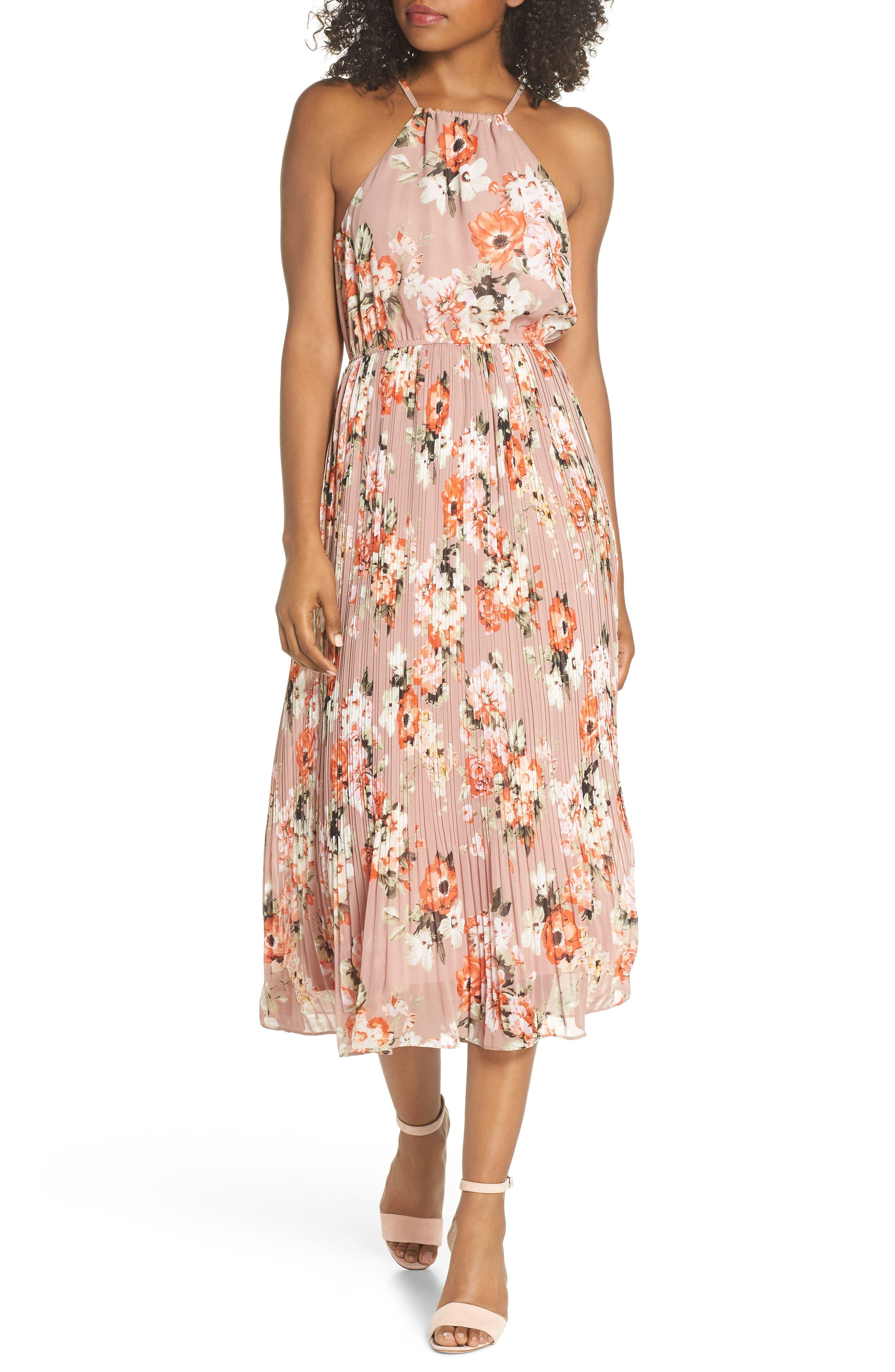 Floral Pleated Halter Dress,                         Main,                         color, Mauve