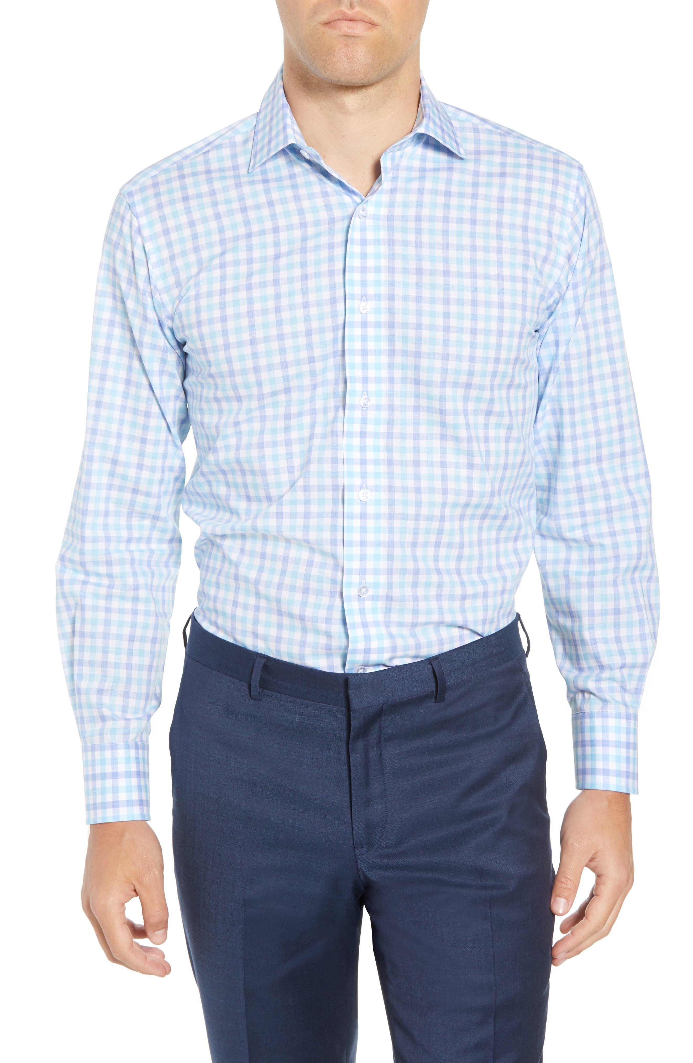 Trim Fit Check Dress Shirt,                             Main thumbnail 1, color,                             Aqua