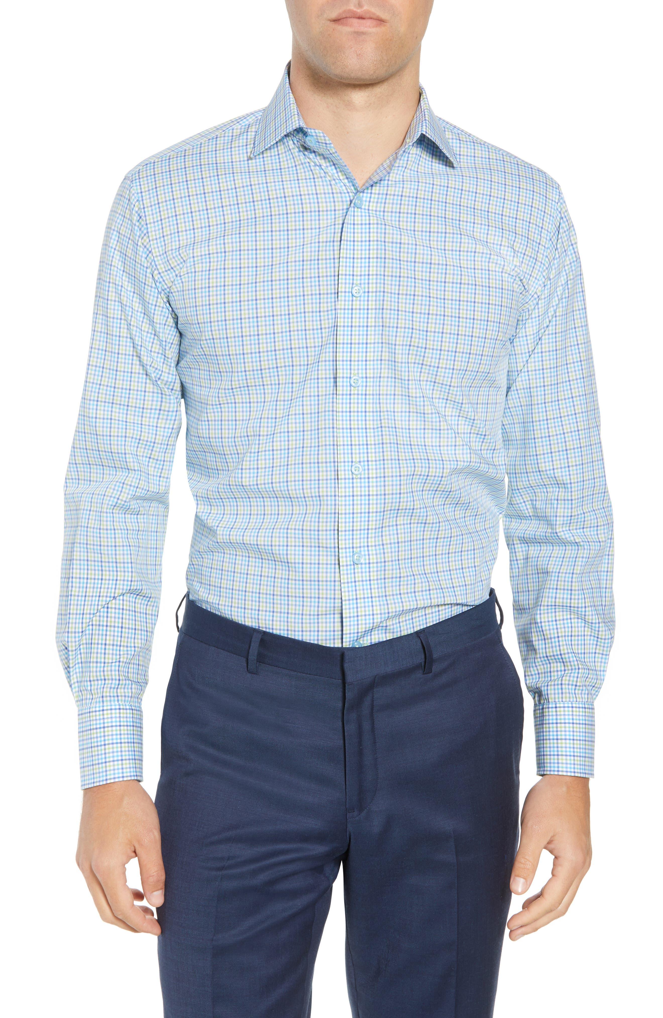 Trim Fit Check Dress Shirt,                         Main,                         color, Blue/ Green