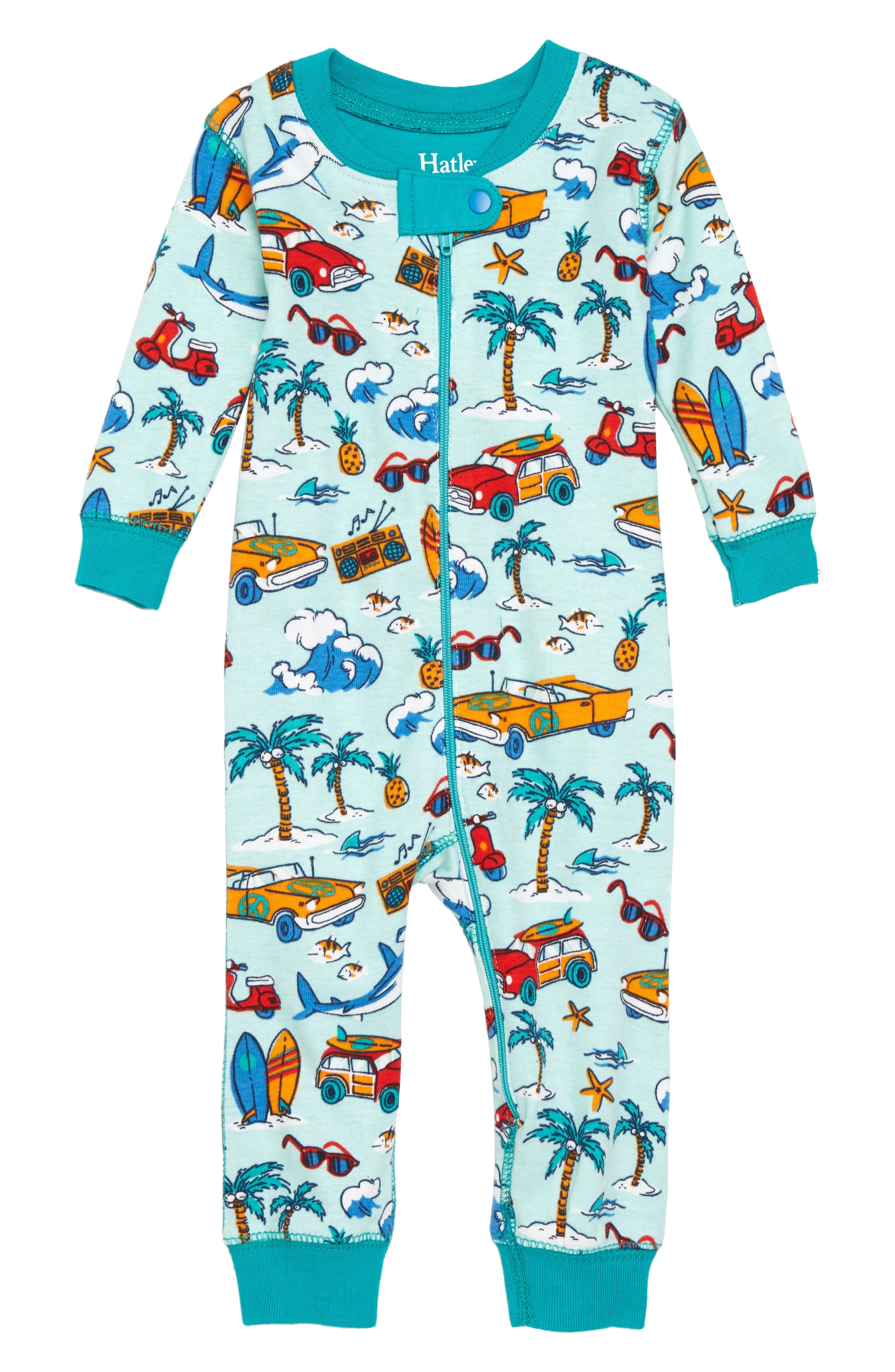 Haltey Organic Cotton Fitted One-Piece Pajamas,                         Main,                         color, Surf Island