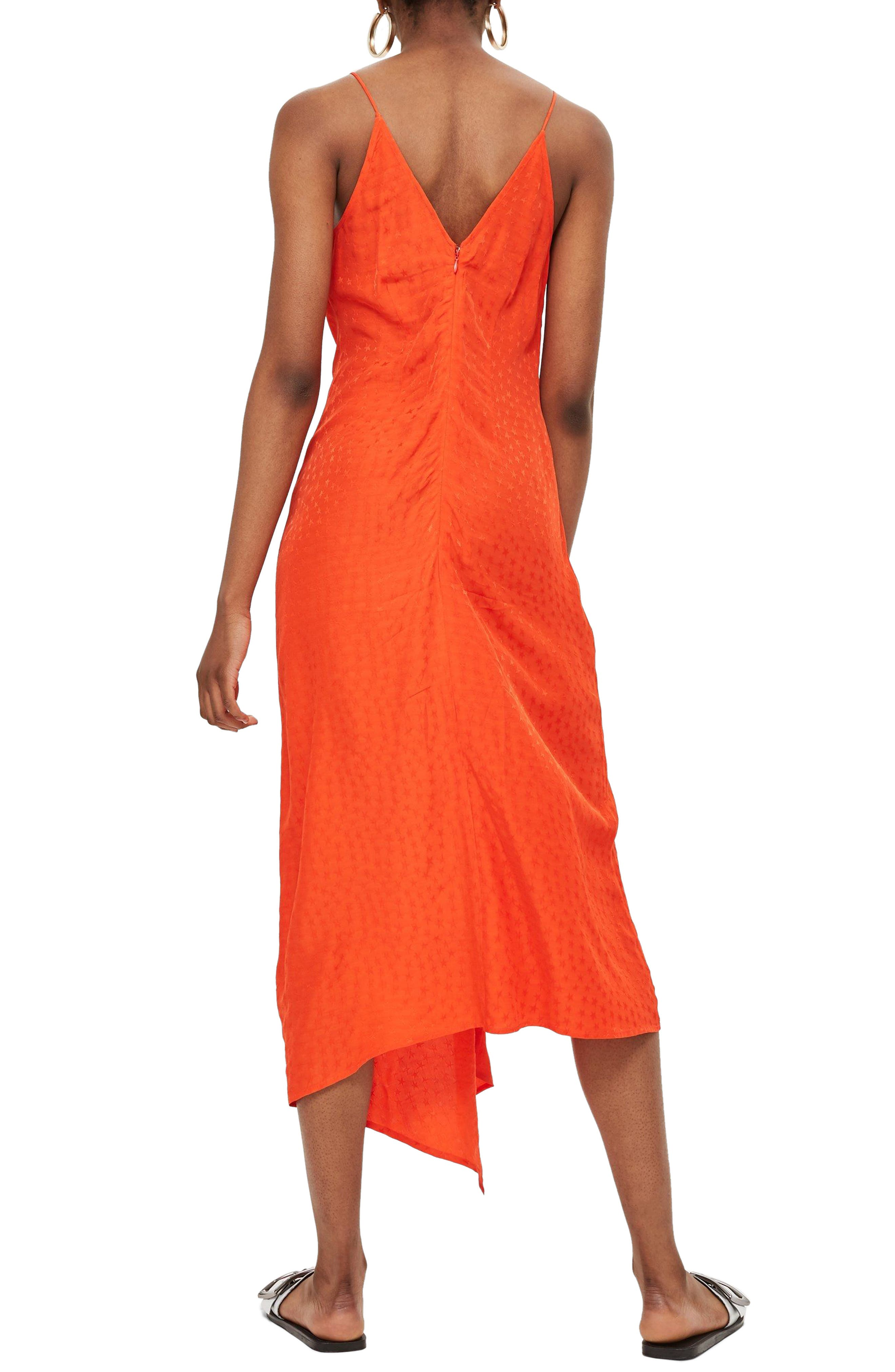 Star Jacquard Ruched Slipdress,                             Alternate thumbnail 2, color,                             Red