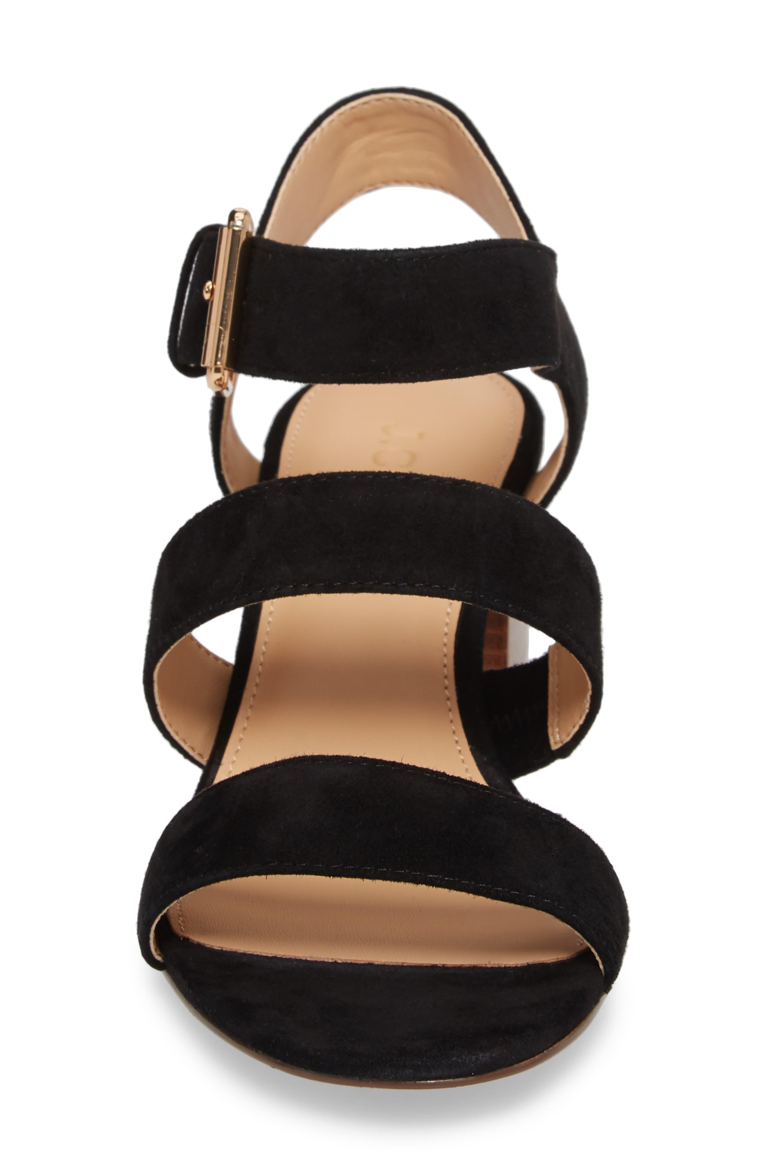 Three-Strap Suede Sandal,                             Alternate thumbnail 4, color,                             Black Suede