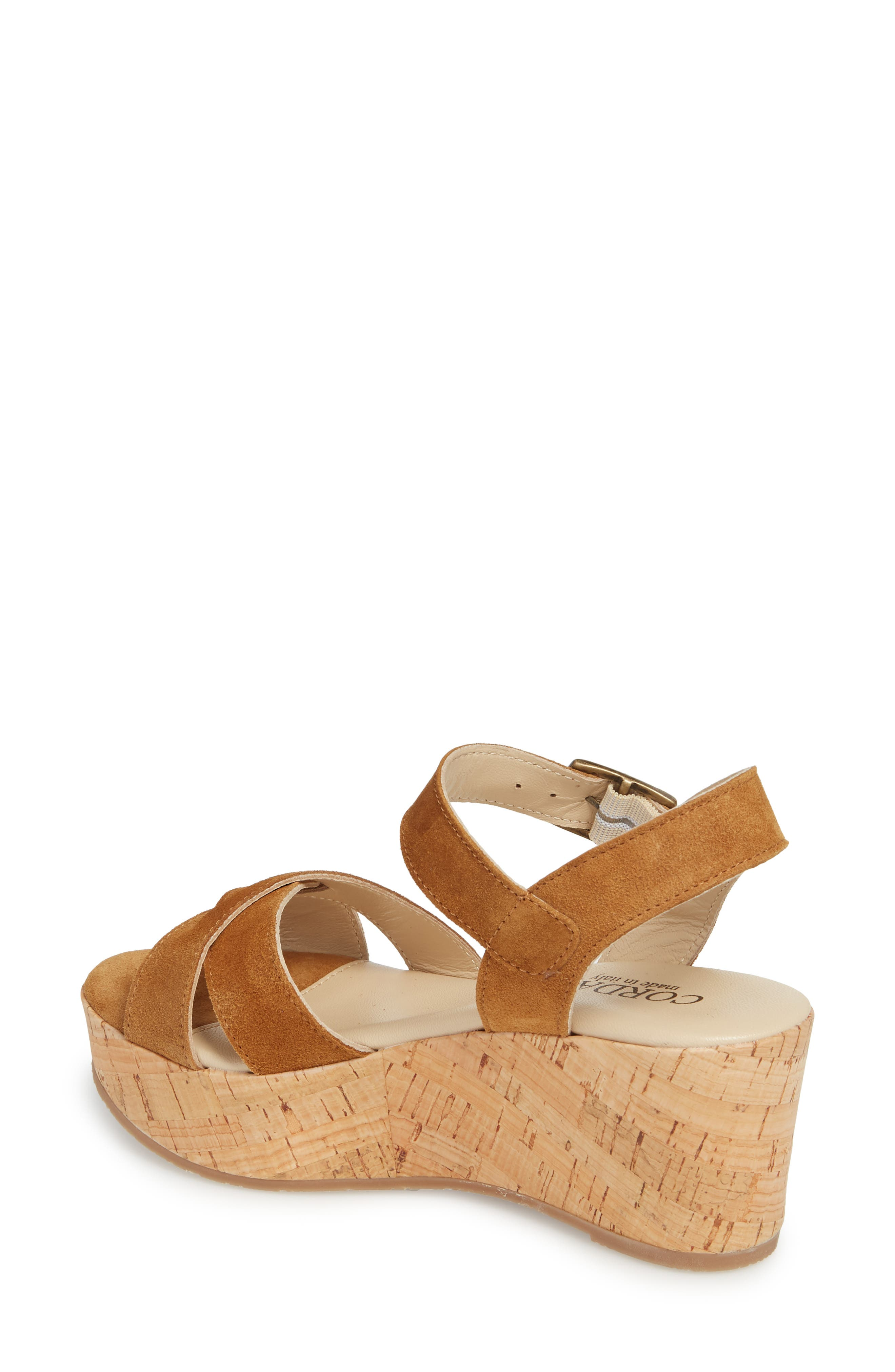 Candy Wedge Sandal,                             Alternate thumbnail 2, color,                             Cola Suede