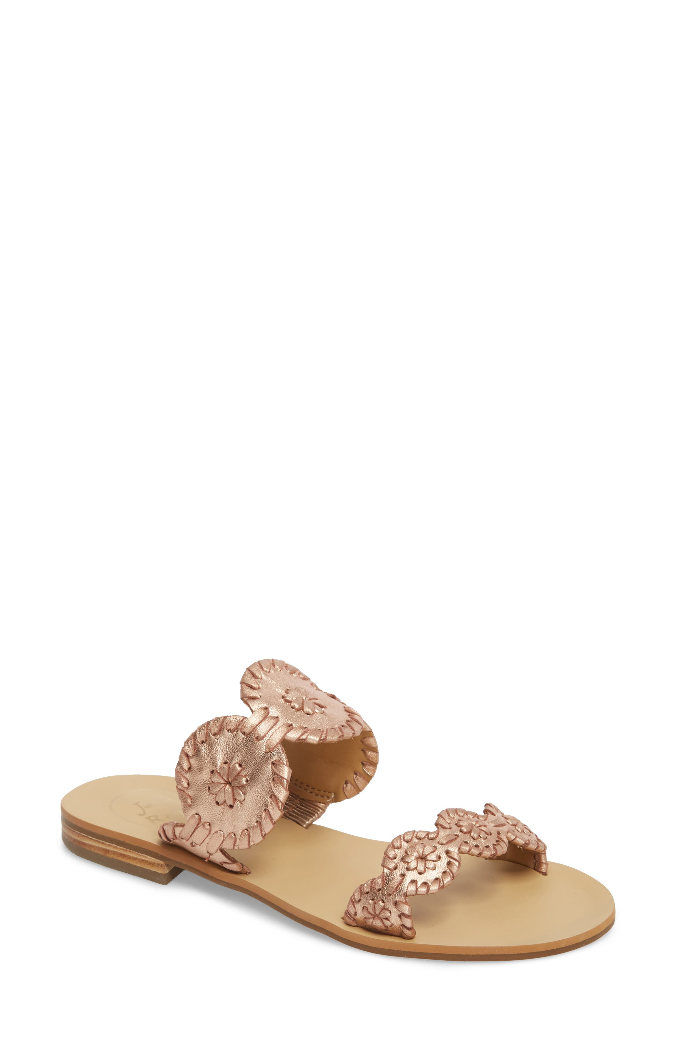 'Lauren' Sandal,                             Main thumbnail 1, color,                             Rose Gold Leather