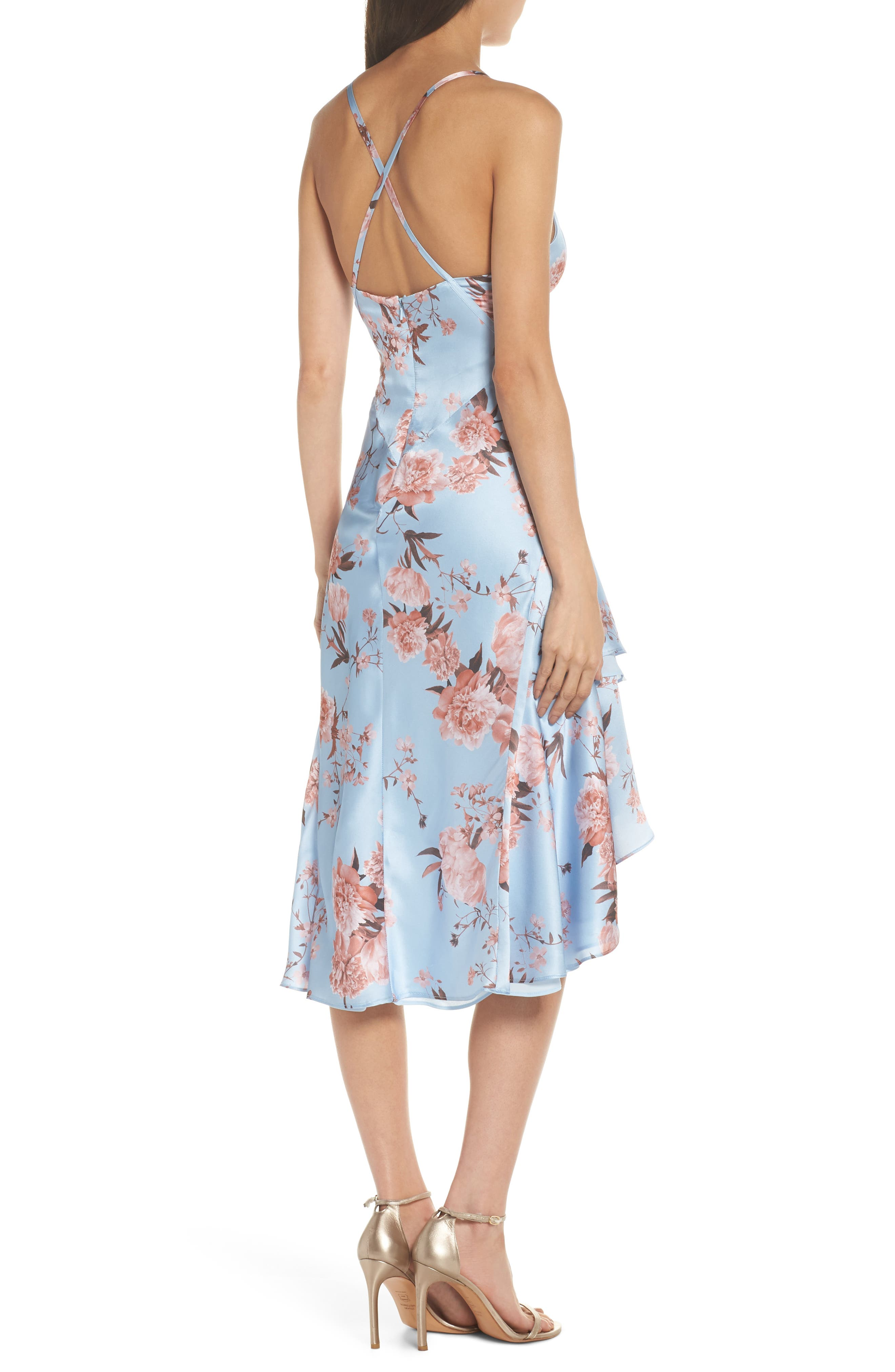 The Farren Floral Silk Dress,                             Alternate thumbnail 2, color,                             Sky Blossom Floral